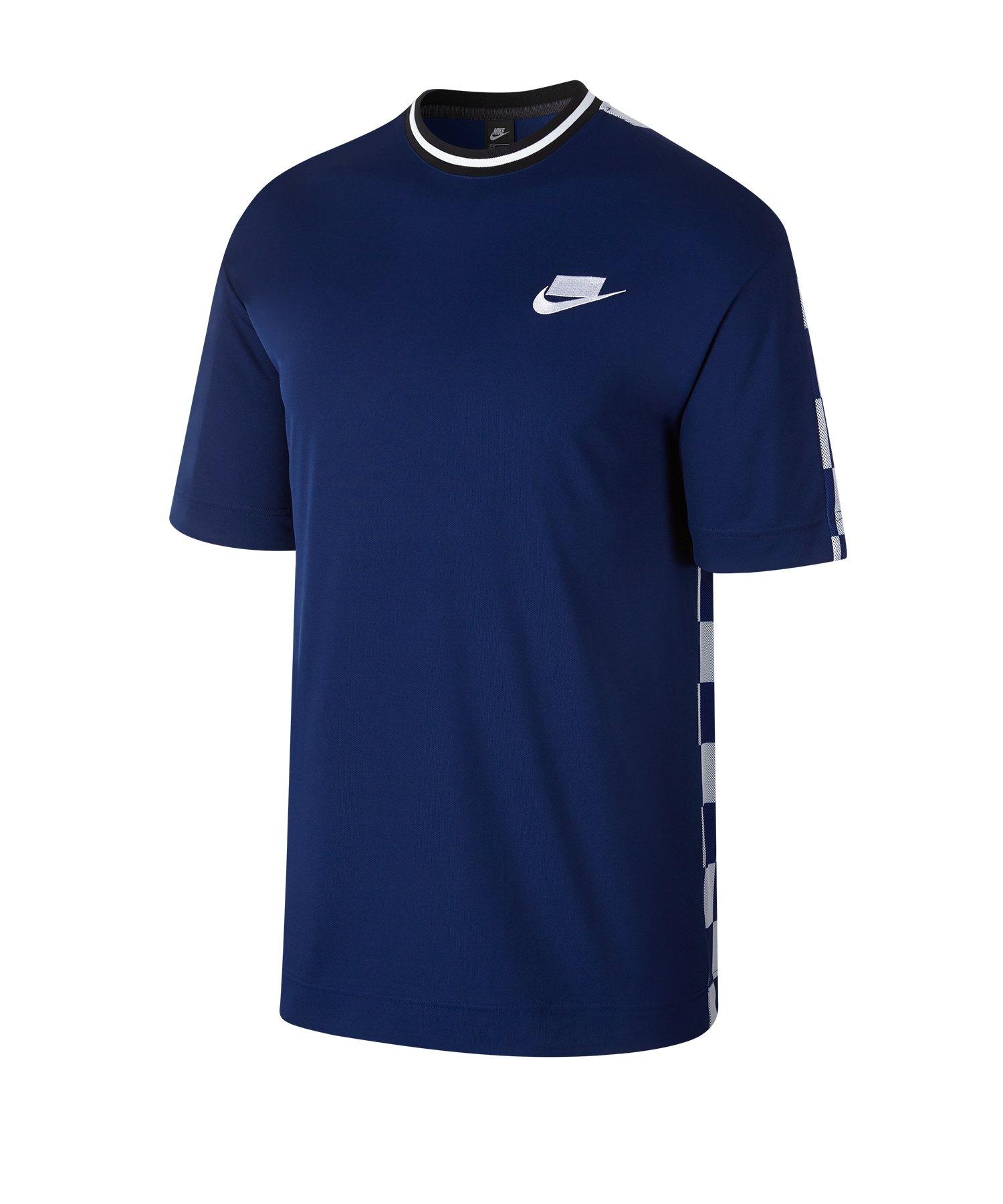 Nike Check Tee T-Shirt Blau Weiss F492 - Blau