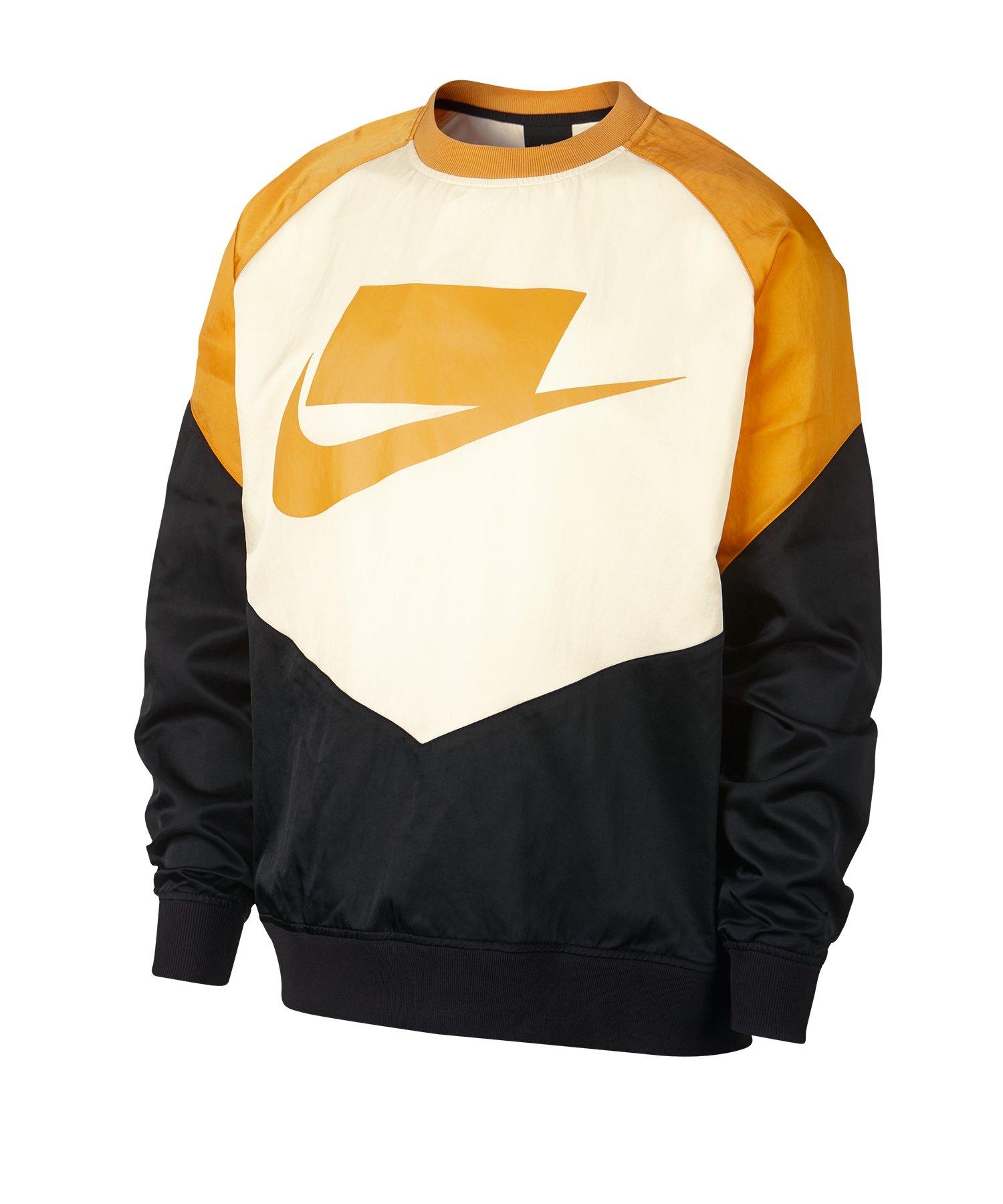 Nike Crew Woven Sweatshirt Schwarz Gelb F010 - Schwarz