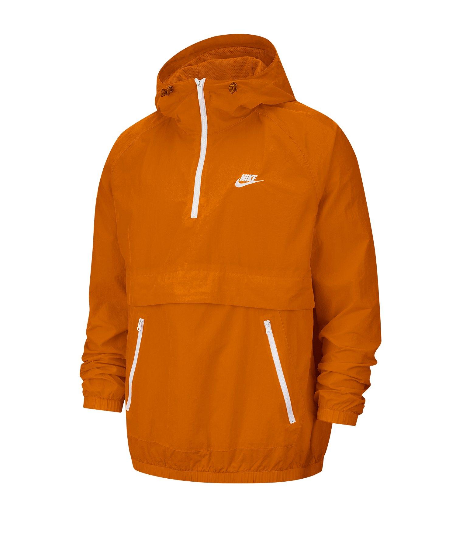 Nike Woven 1/4 Zip Kapuzenwindbreaker Orange F812 - orange