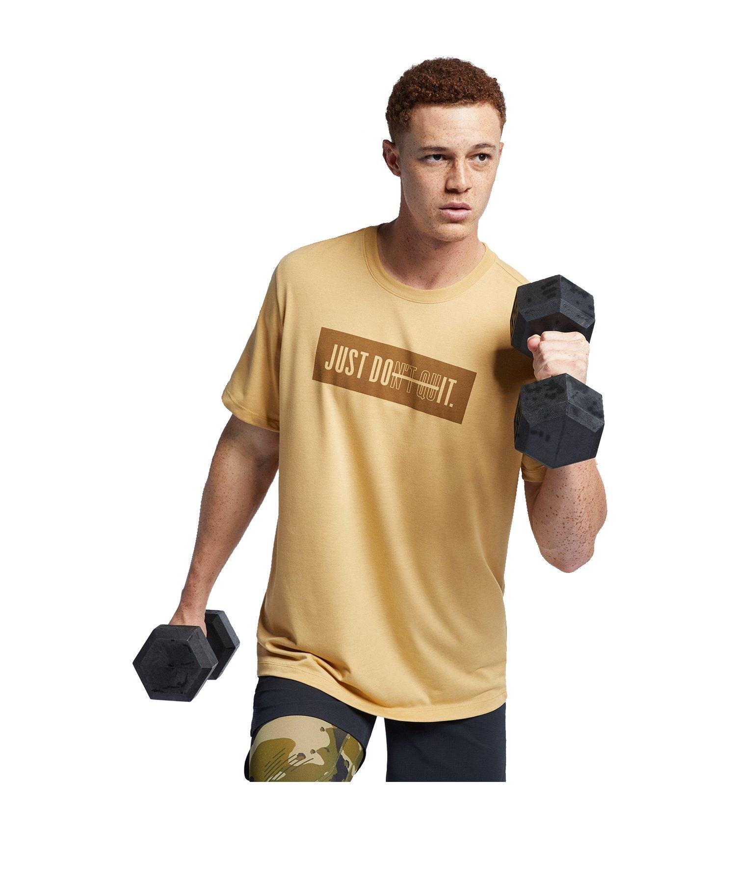 Nike DB Dry Training Tee T-Shirt Gold Braun F723 - gold