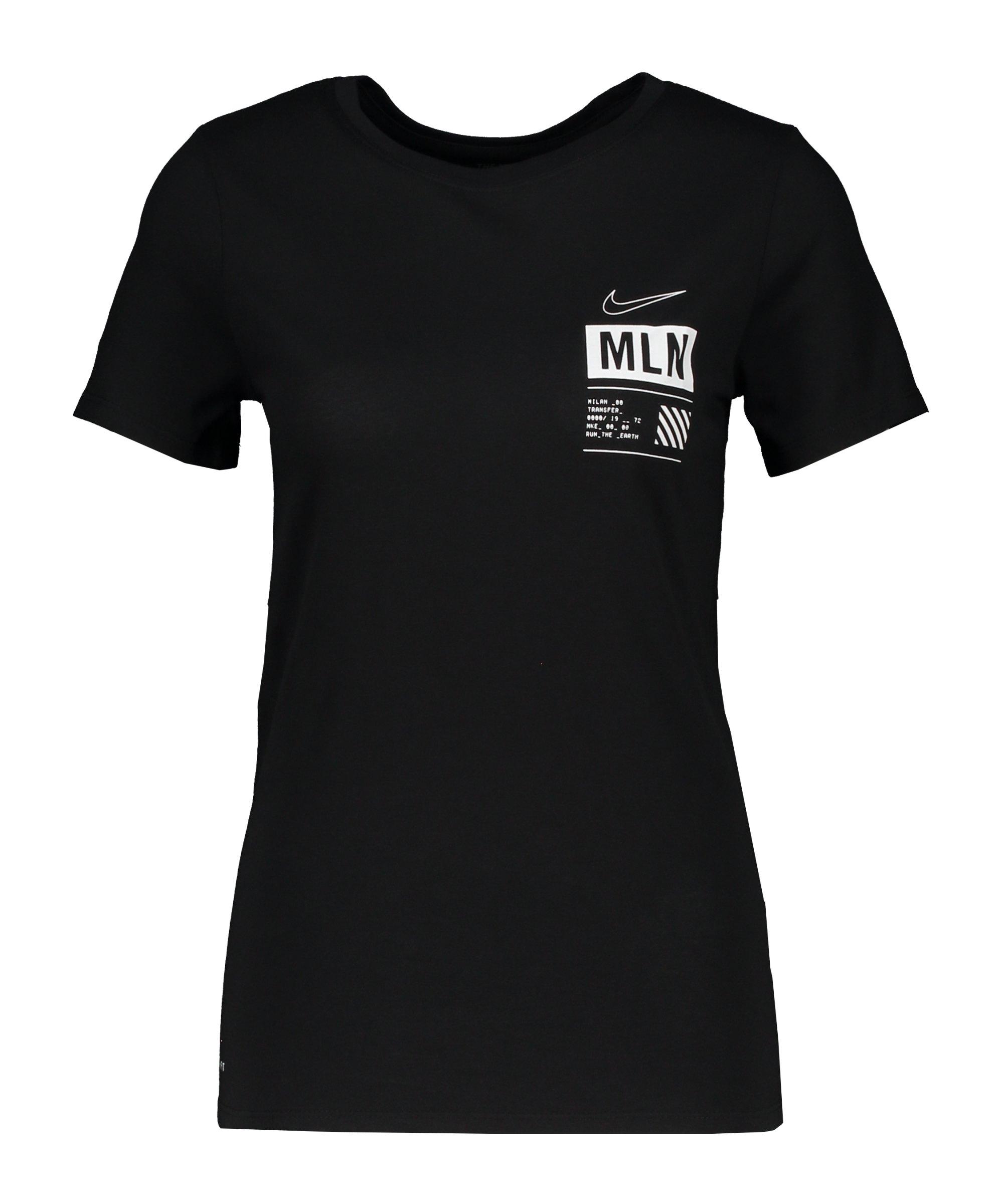 Nike Dry Milan T-Shirt Running Damen Schwarz F010 - schwarz