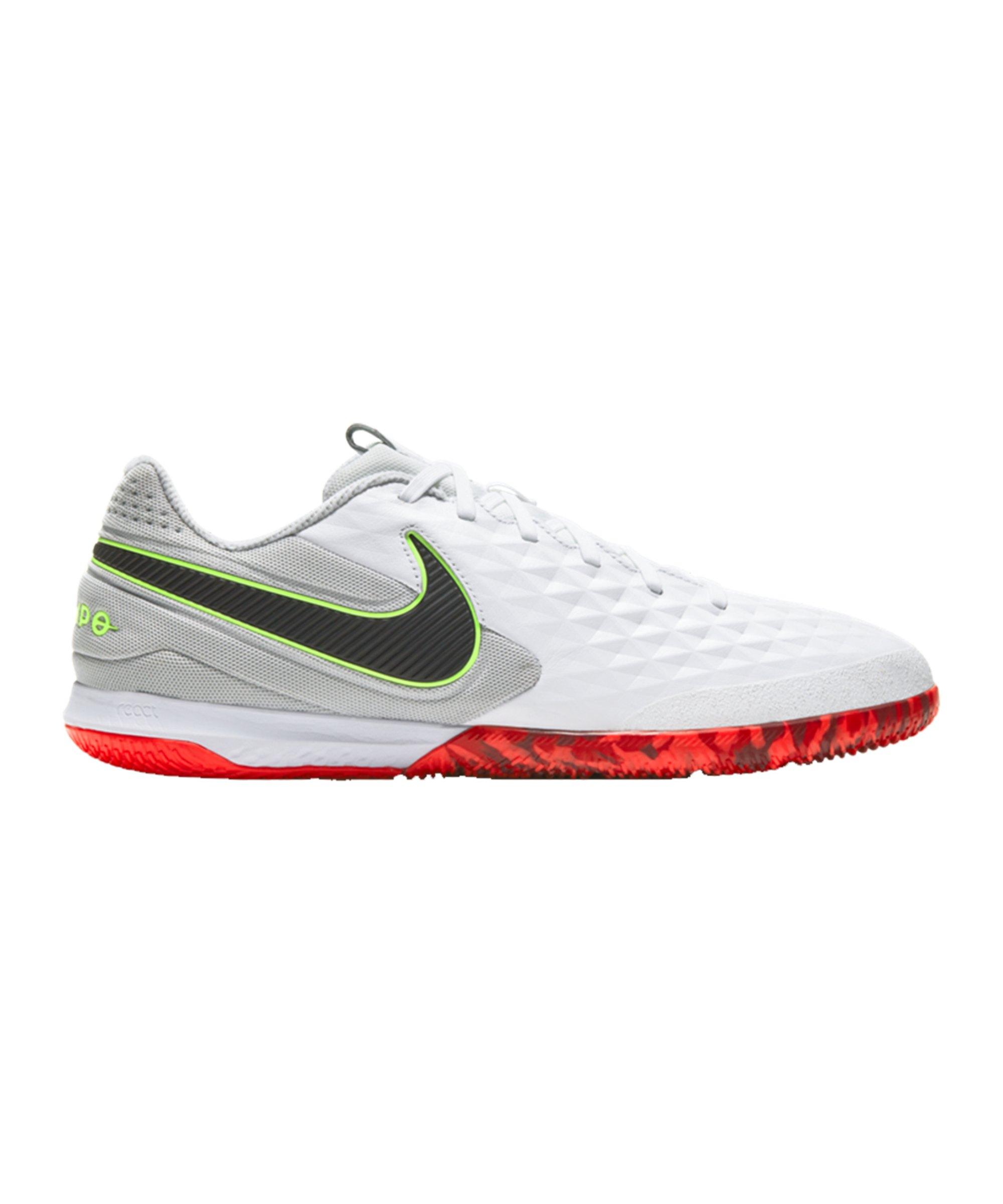 Nike Tiempo Legend VIII Pro React IC Weiss Grau Rot F106 - weiss