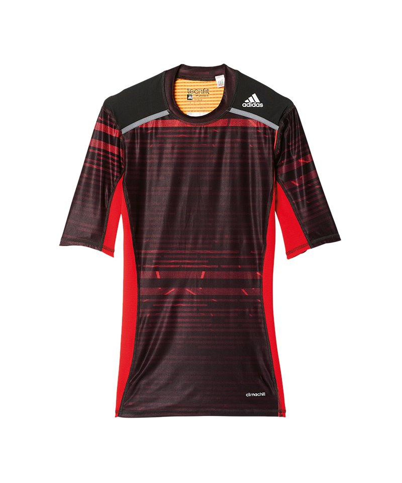 adidas Tech Fit Chill Tee T-Shirt Schwarz Rot - schwarz