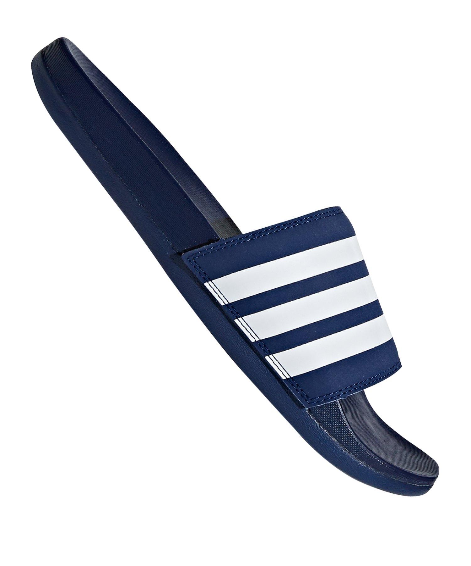 adidas Adilette Comfort Badelatsche Blau Weiss - blau