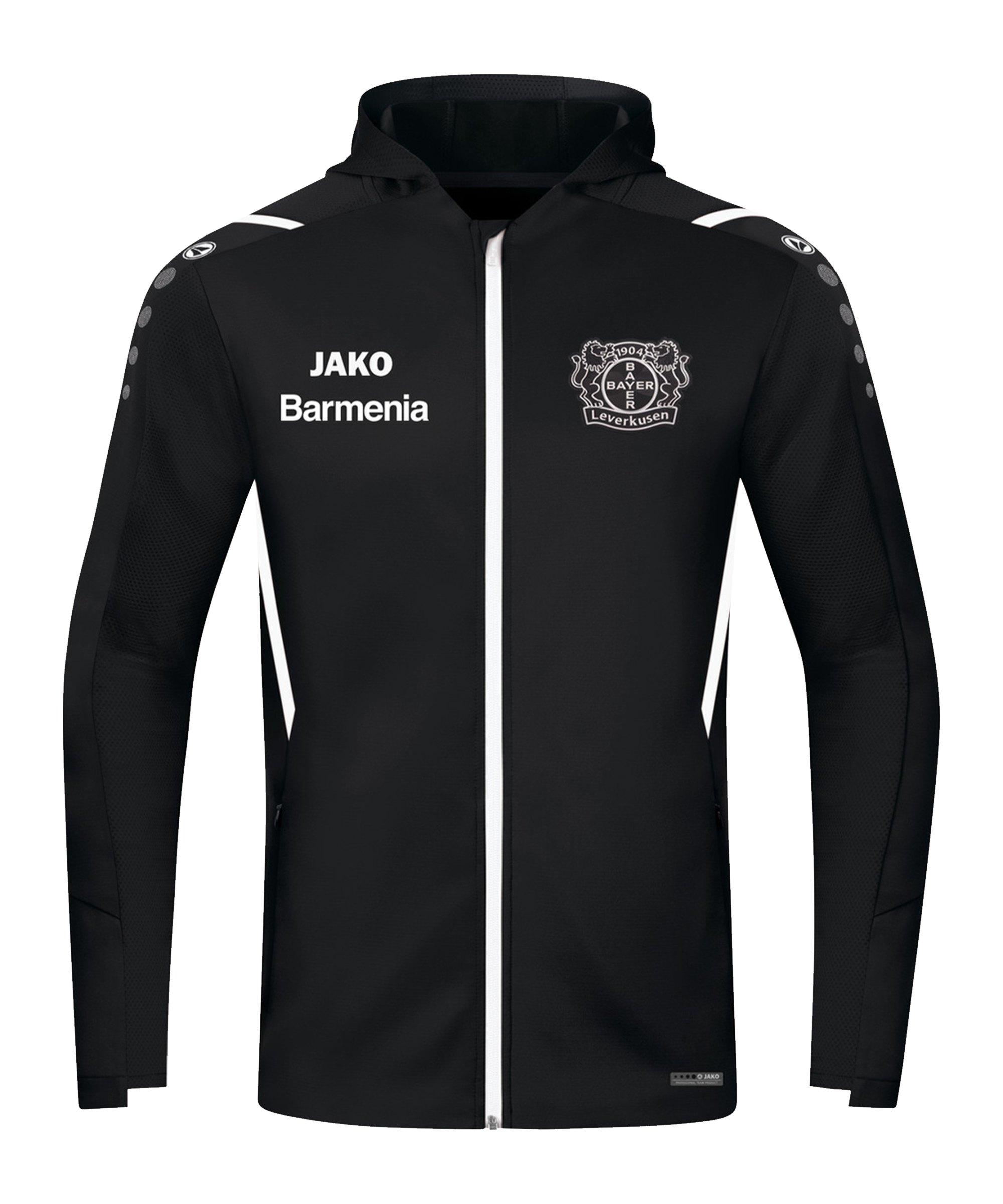 JAKO Bayer 04 Leverkusen Challenge Trainingsjacke Schwarz Weiss F802 - schwarz