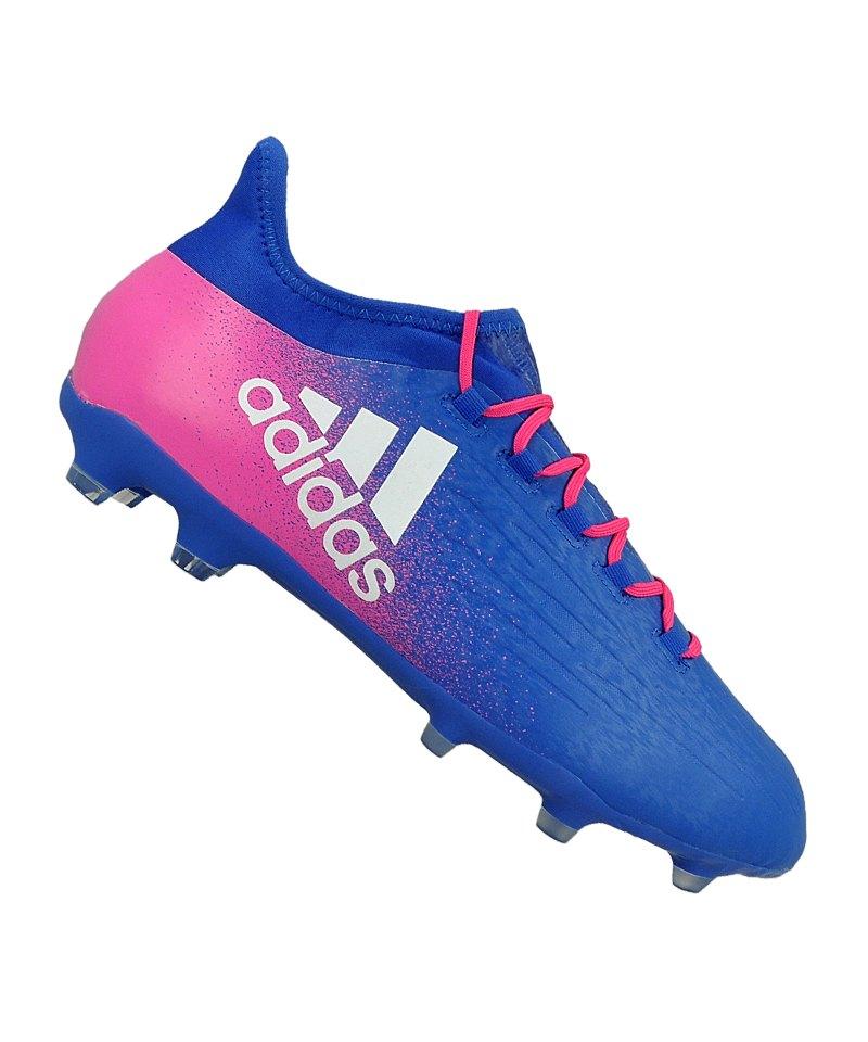 adidas FG X 16.2 Blau Weiss Pink - blau