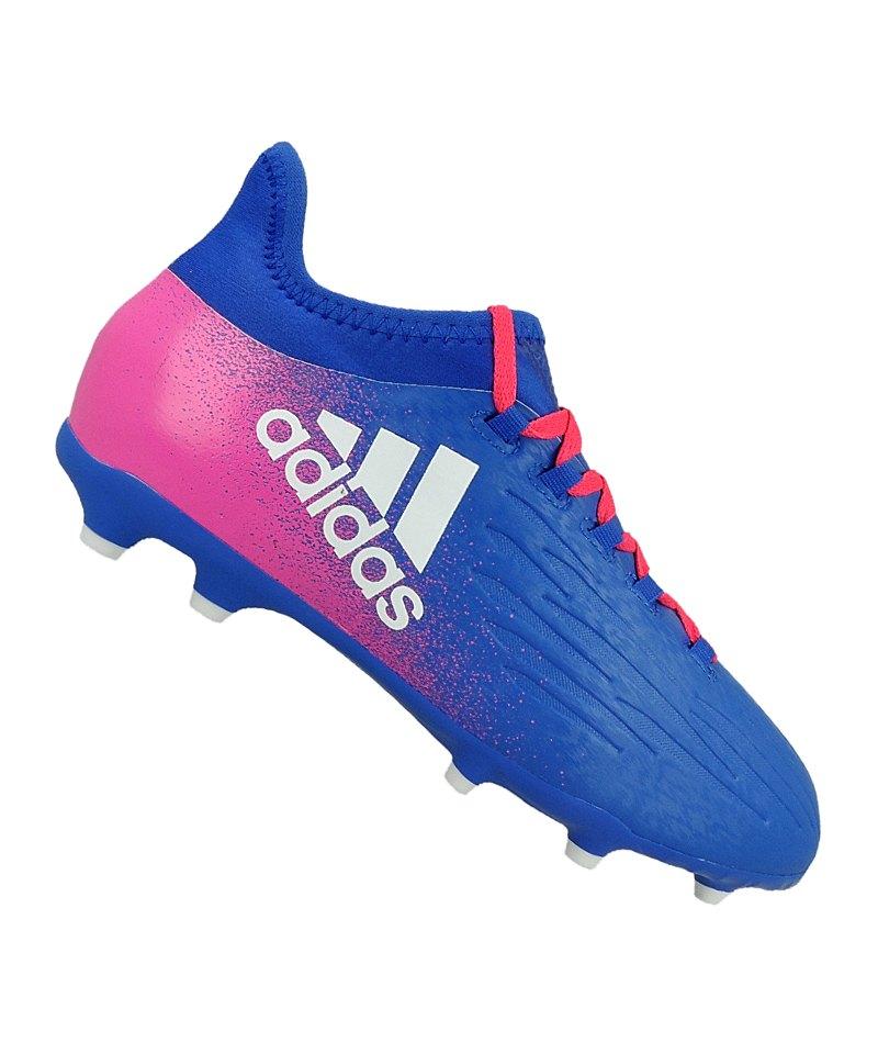 adidas FG X 16.1 J Kinder Blau Weiss Pink - blau