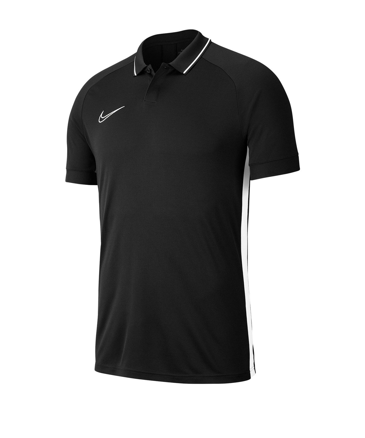 Nike Academy 19 Poloshirt Schwarz Weiss F010 - Schwarz