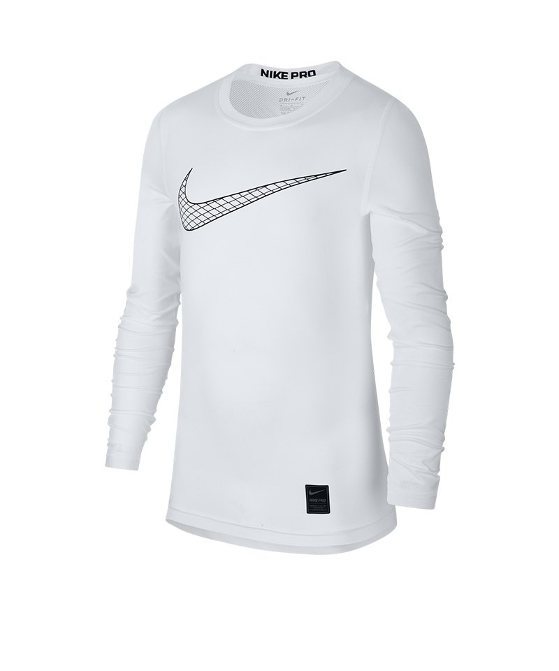 Nike Pro Longsleeve Shirt Kids Weiss F100 - weiss