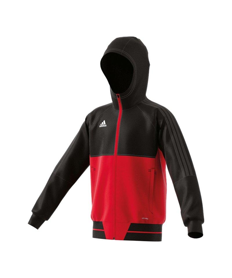 adidas Tiro 17 Präsi-Jacke Kids Schwarz Rot - schwarz