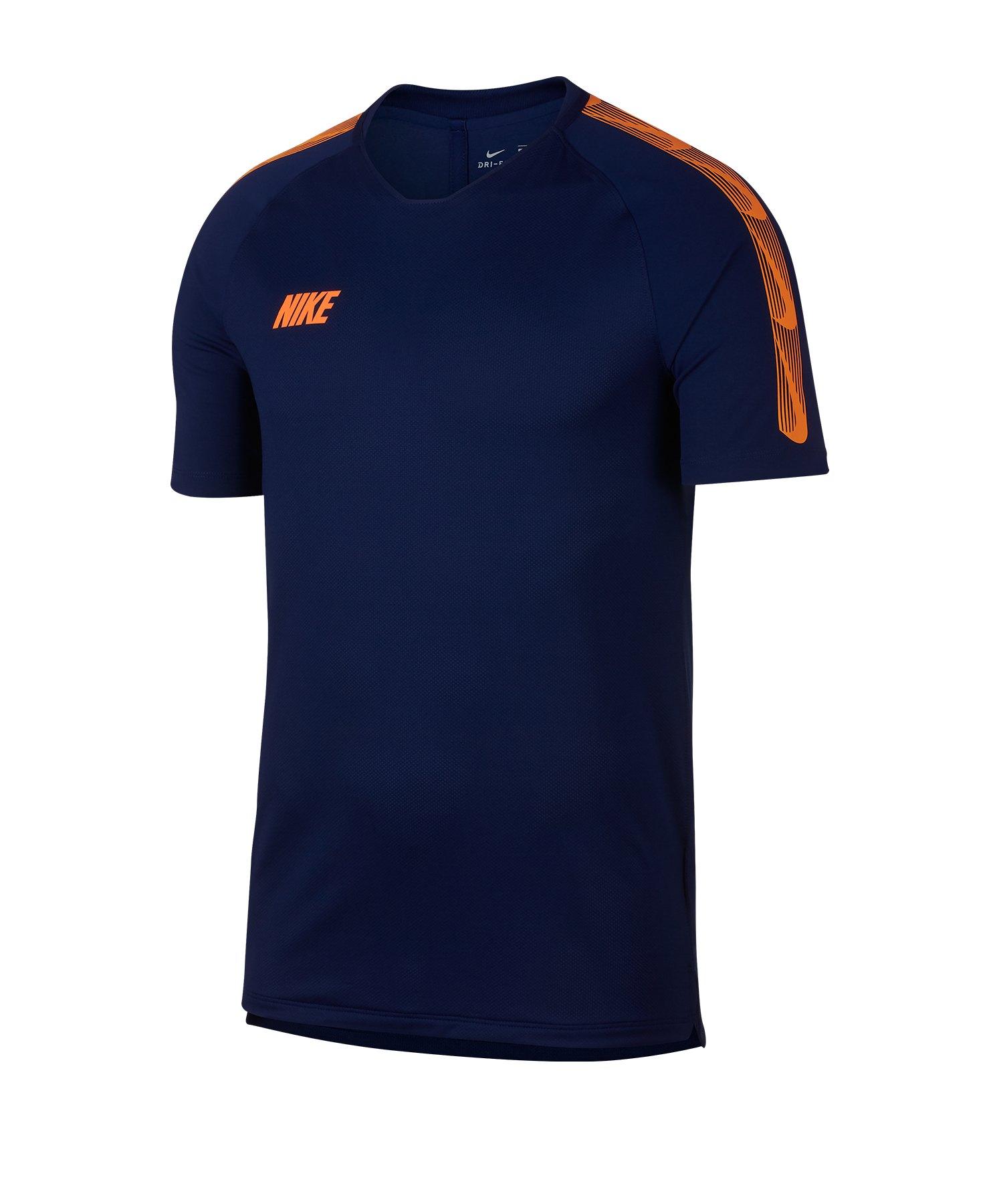 Nike Dry Squad Breathe T-Shirt Blau Orange F492 - Blau