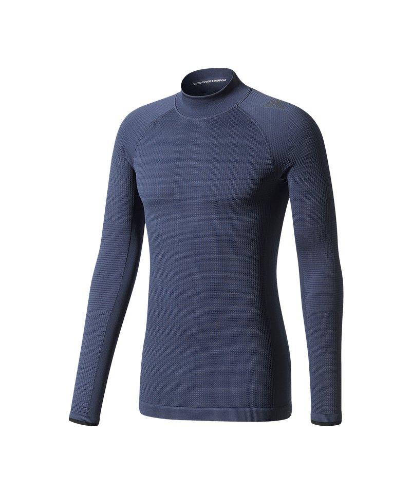 adidas Tech Fit climaheat LS Mock Dunkelblau - blau
