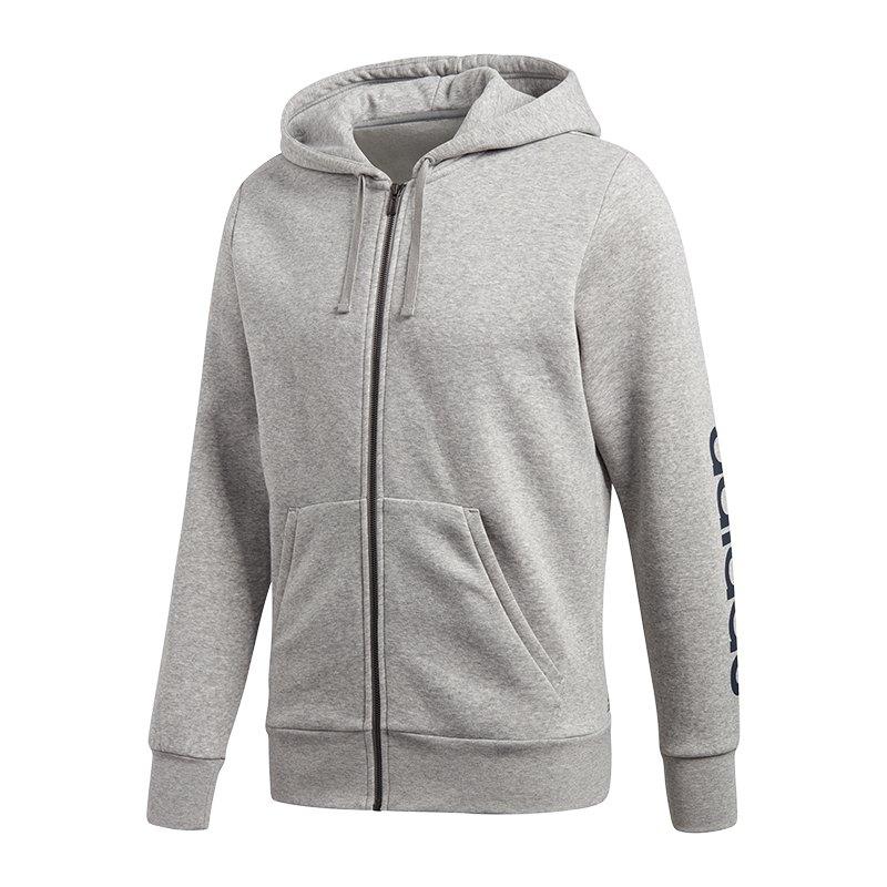adidas Essential Linear Kapuzenjacke Grau - grau
