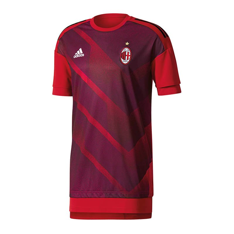 adidas AC Mailand Shirt Pre-Match Rot Schwarz - rot