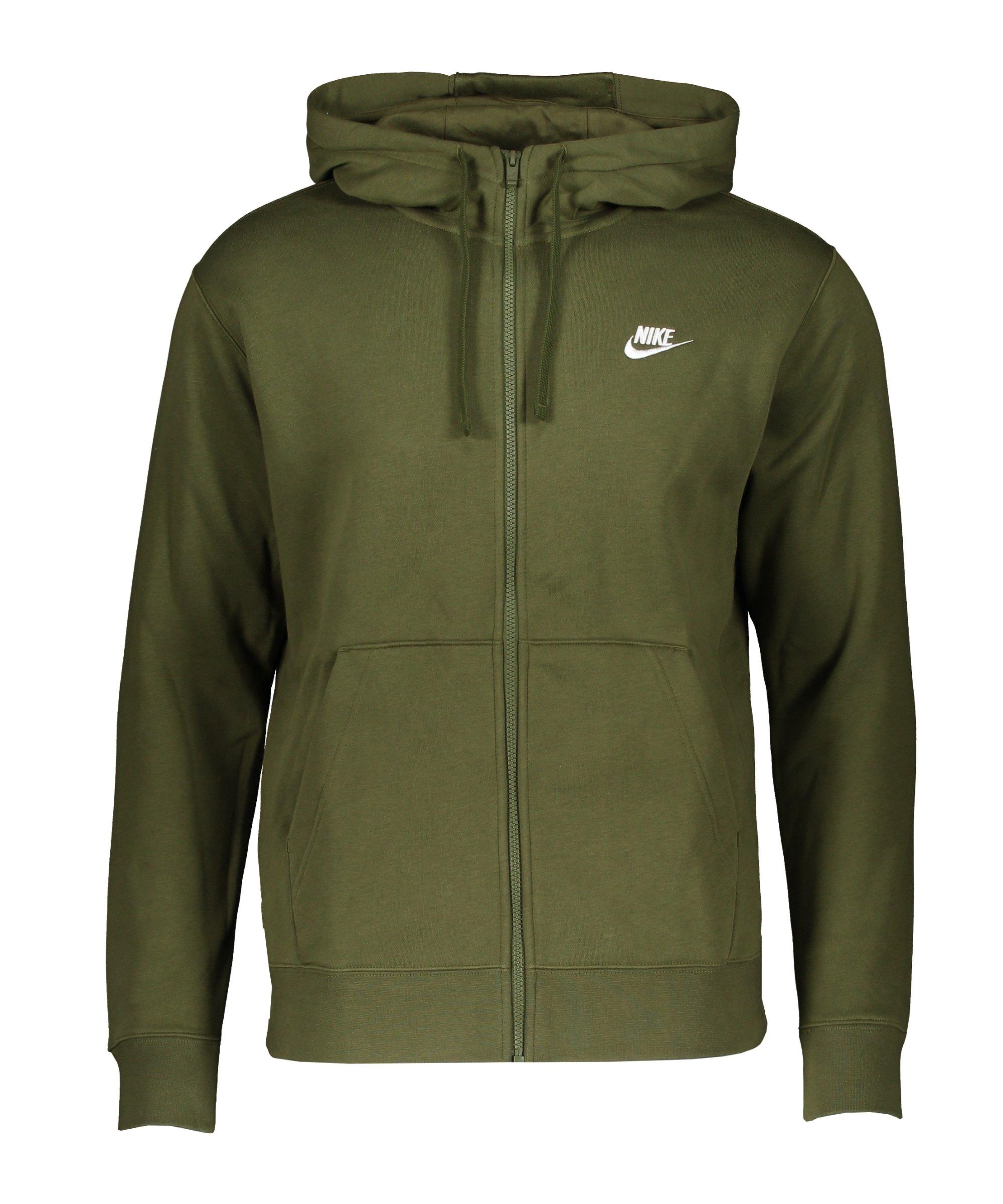 Nike Club Fleece Kapuzenjacke Grün Weiss F327 - gruen
