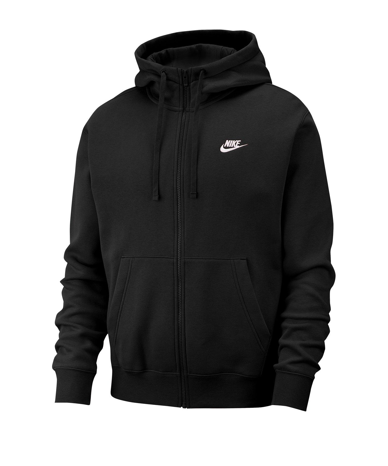 Nike Club Fleece Kapuzenjacke Schwarz F010 - schwarz