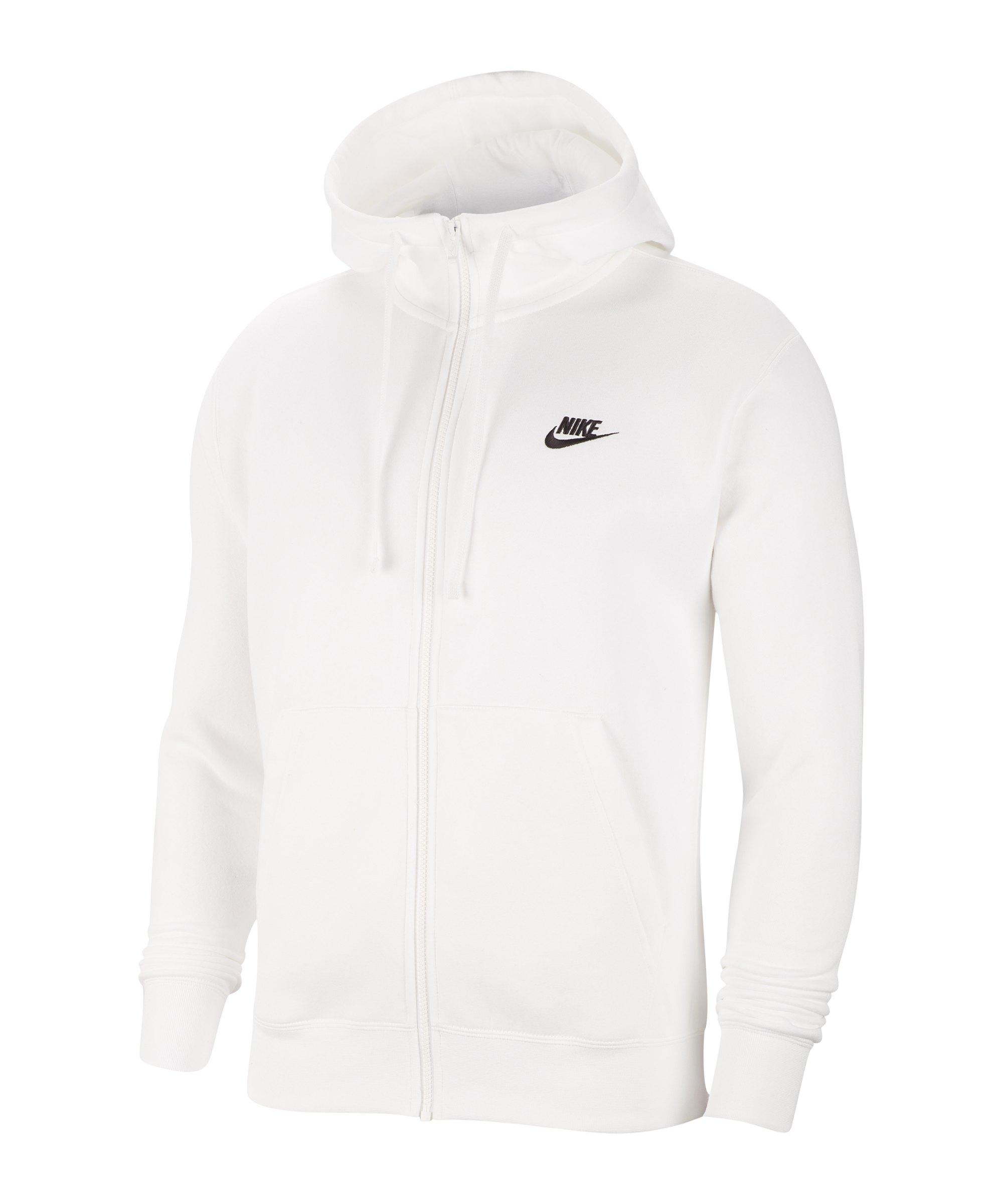 Nike Club Fleece Kapuzenjacke Weiss Schwarz F100 - weiss