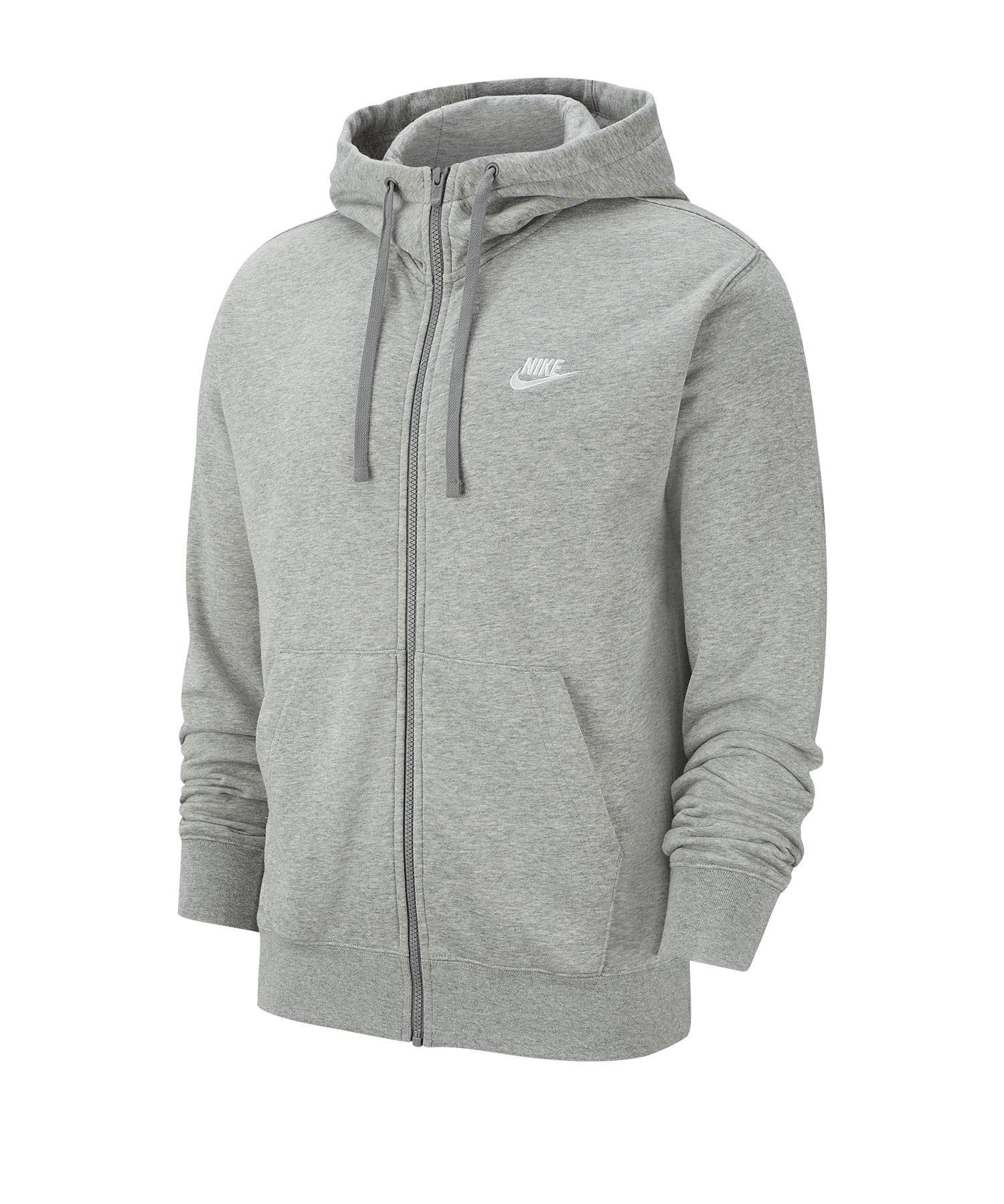 Nike Club Kapuzenjacke Grau Weiss F063 - grau