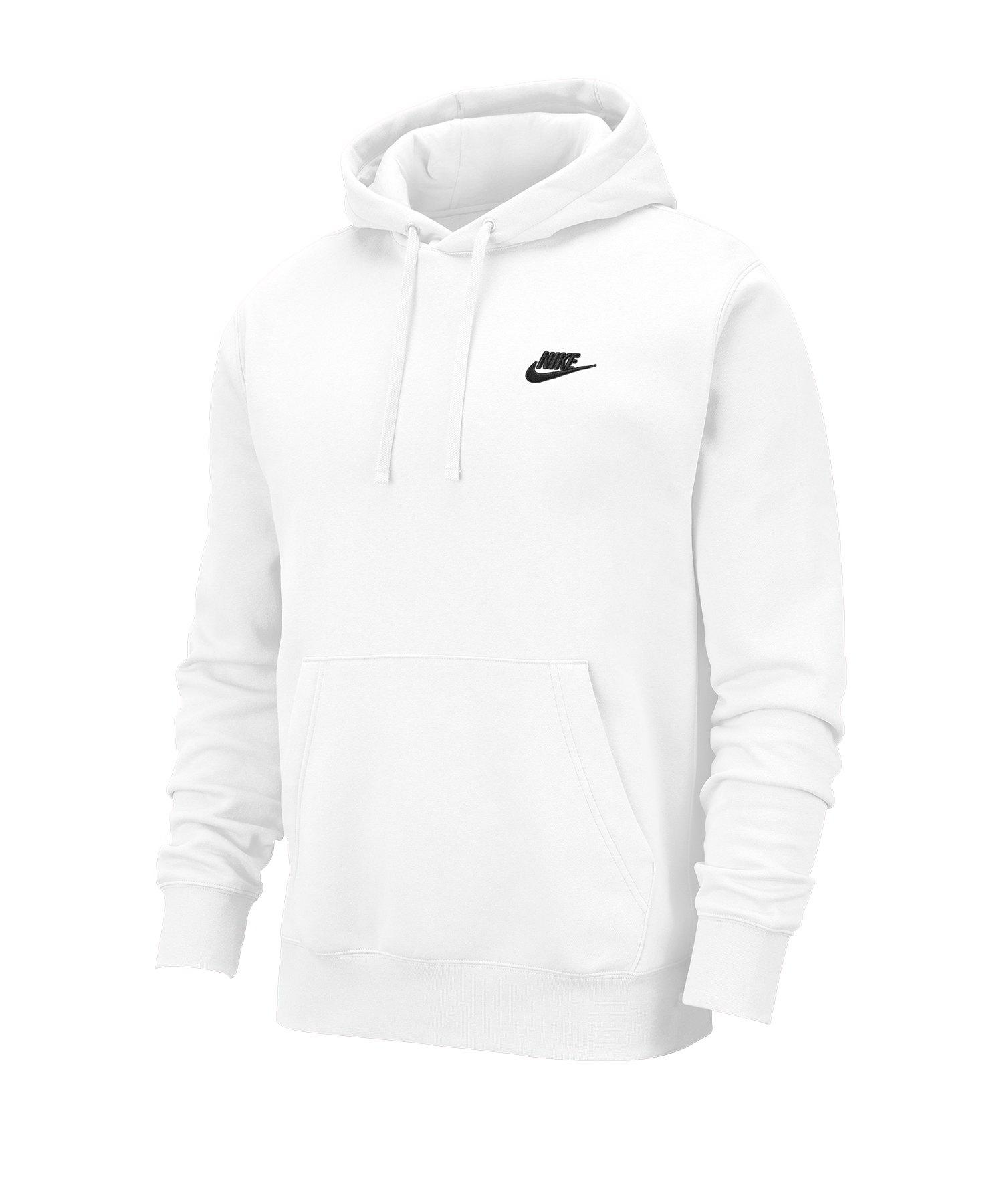 Nike Club Fleece Kapuzensweatshirt Weiss F100 - weiss