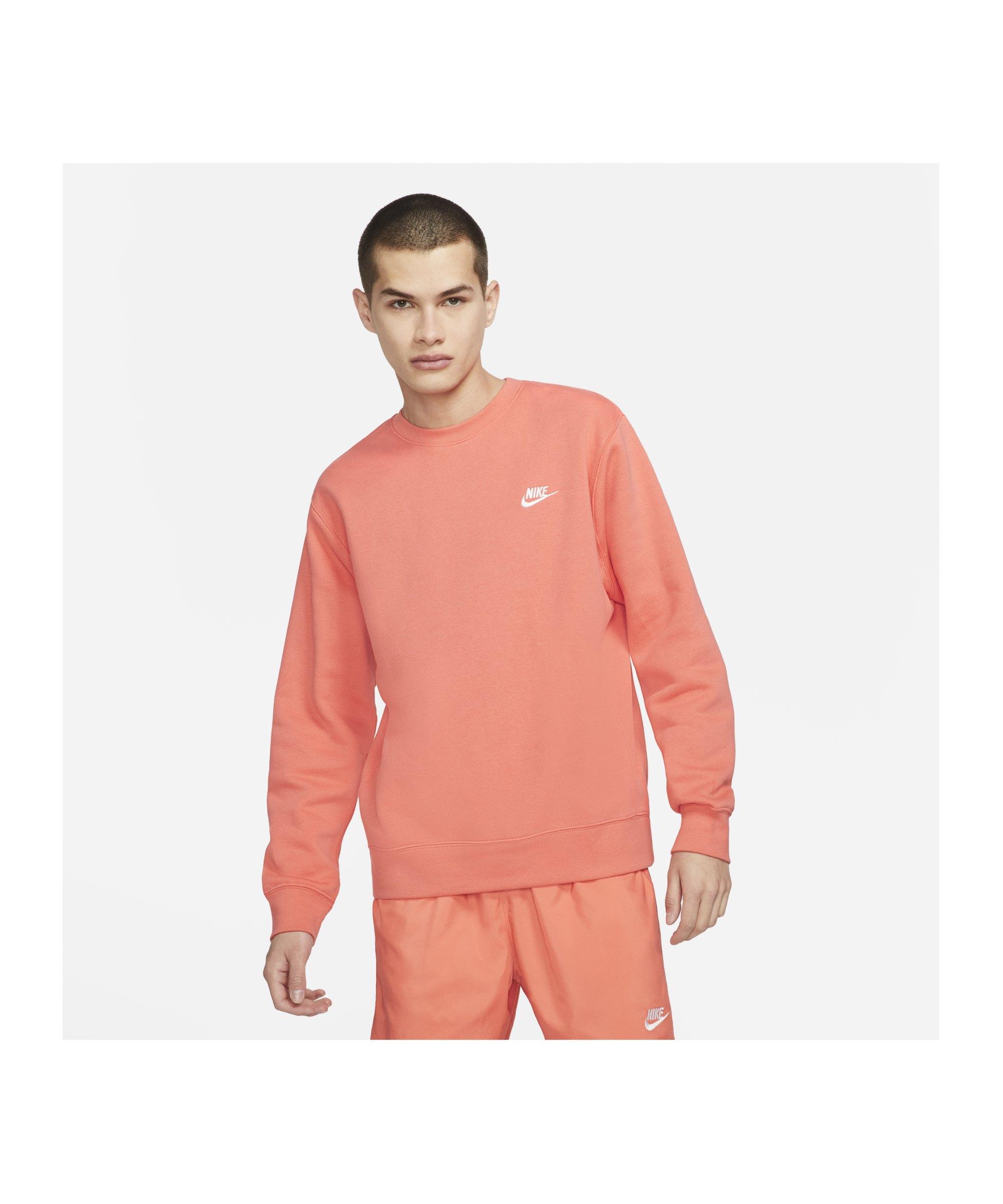 Nike Club Crew Sweatshirt Rot Weiss F814 - rot