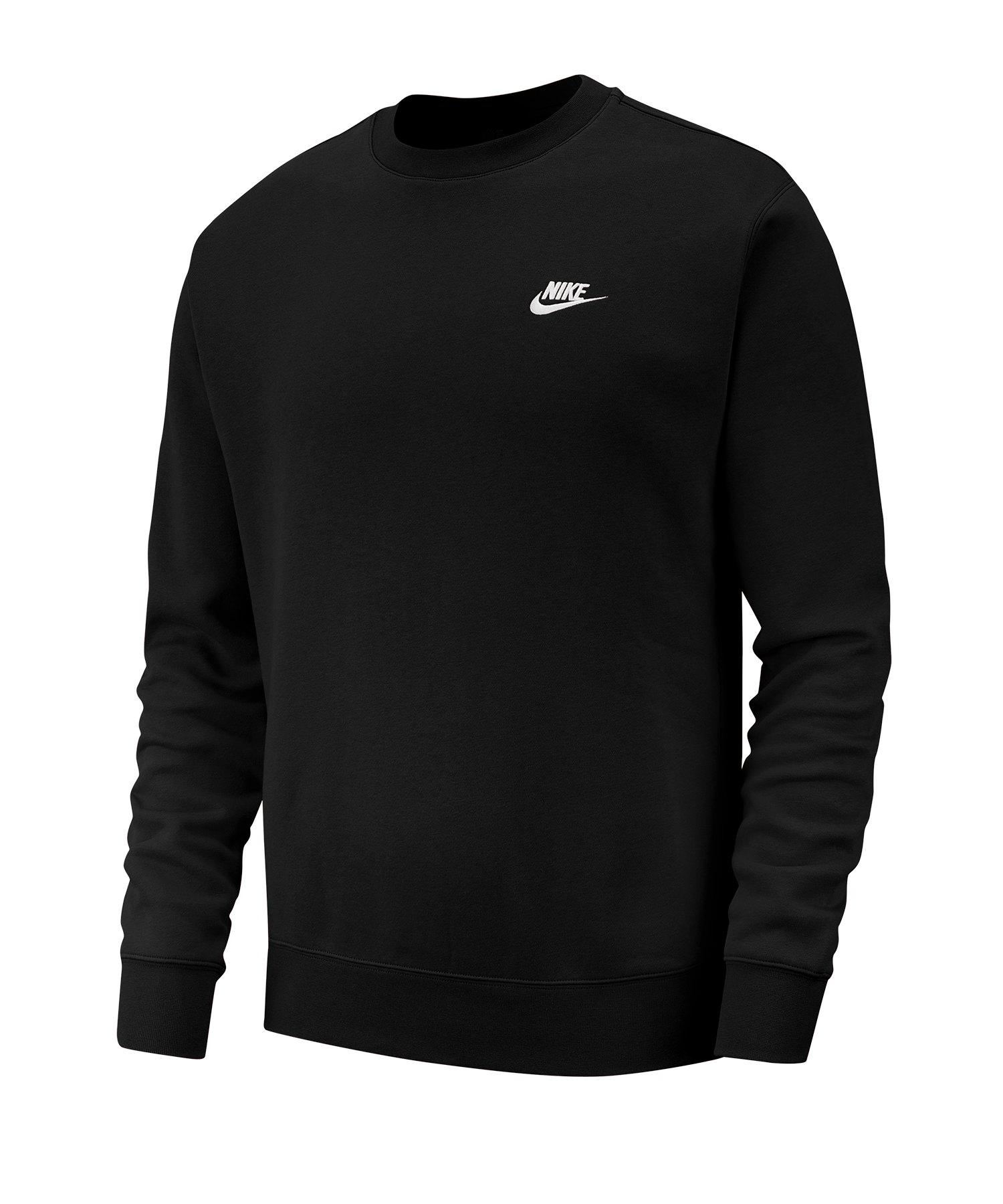 Nike Club Crew Sweatshirt Schwarz Weiss F010 - schwarz