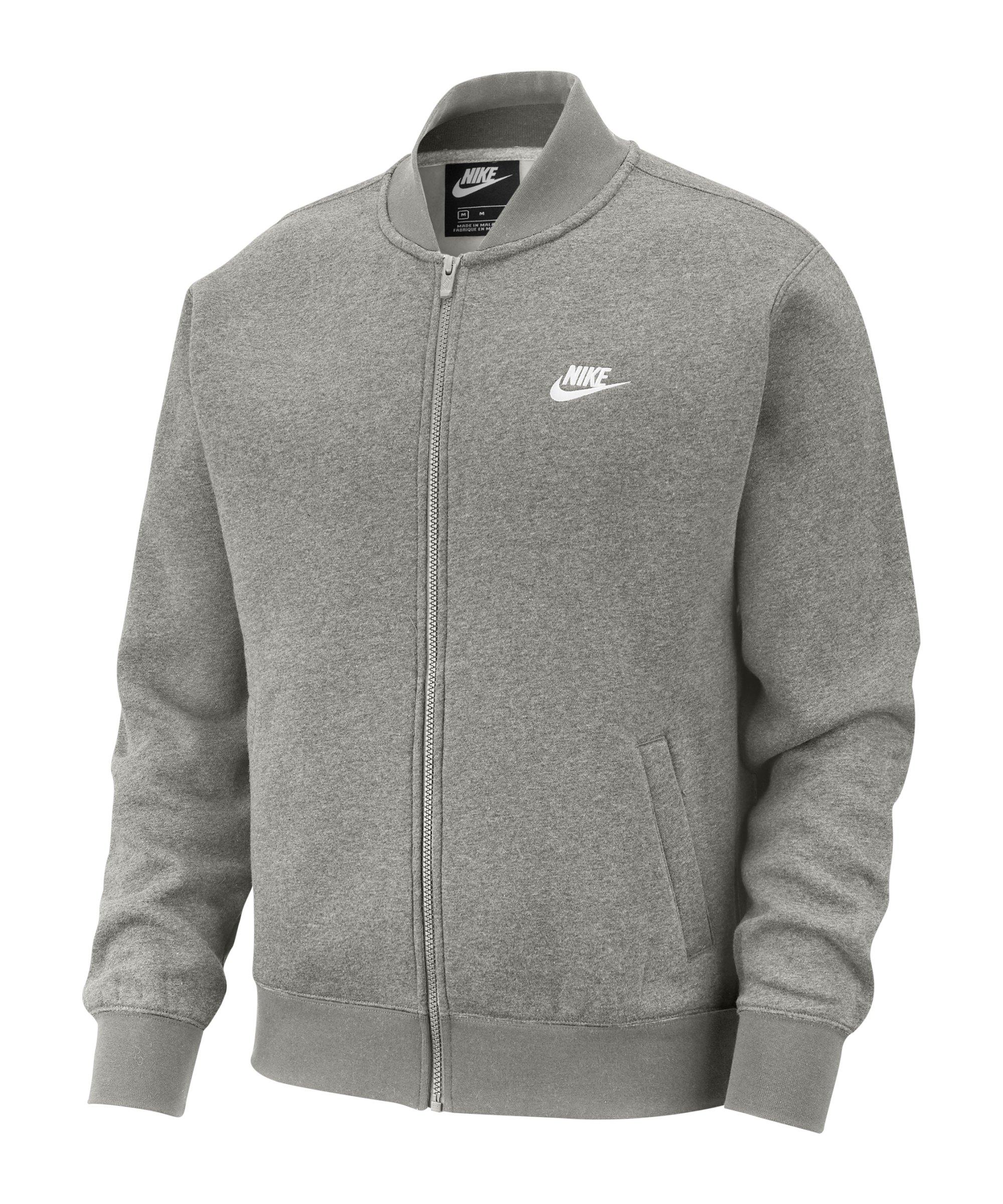 Nike Club Fleece Bomber Jacke Grau Weiss F063 - grau
