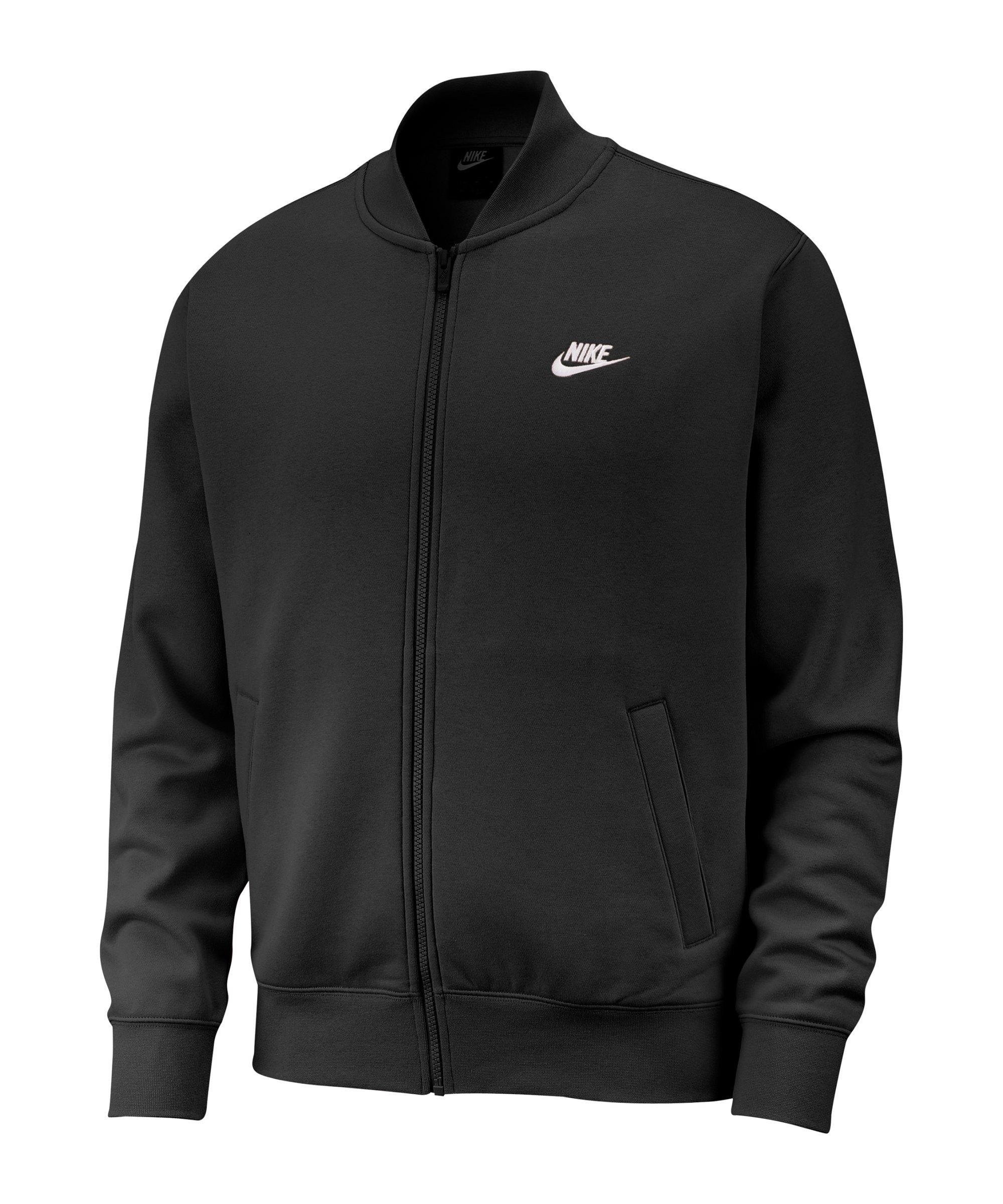 Nike Club Fleece Bomber Jacke Schwarz Weiss F010 - schwarz
