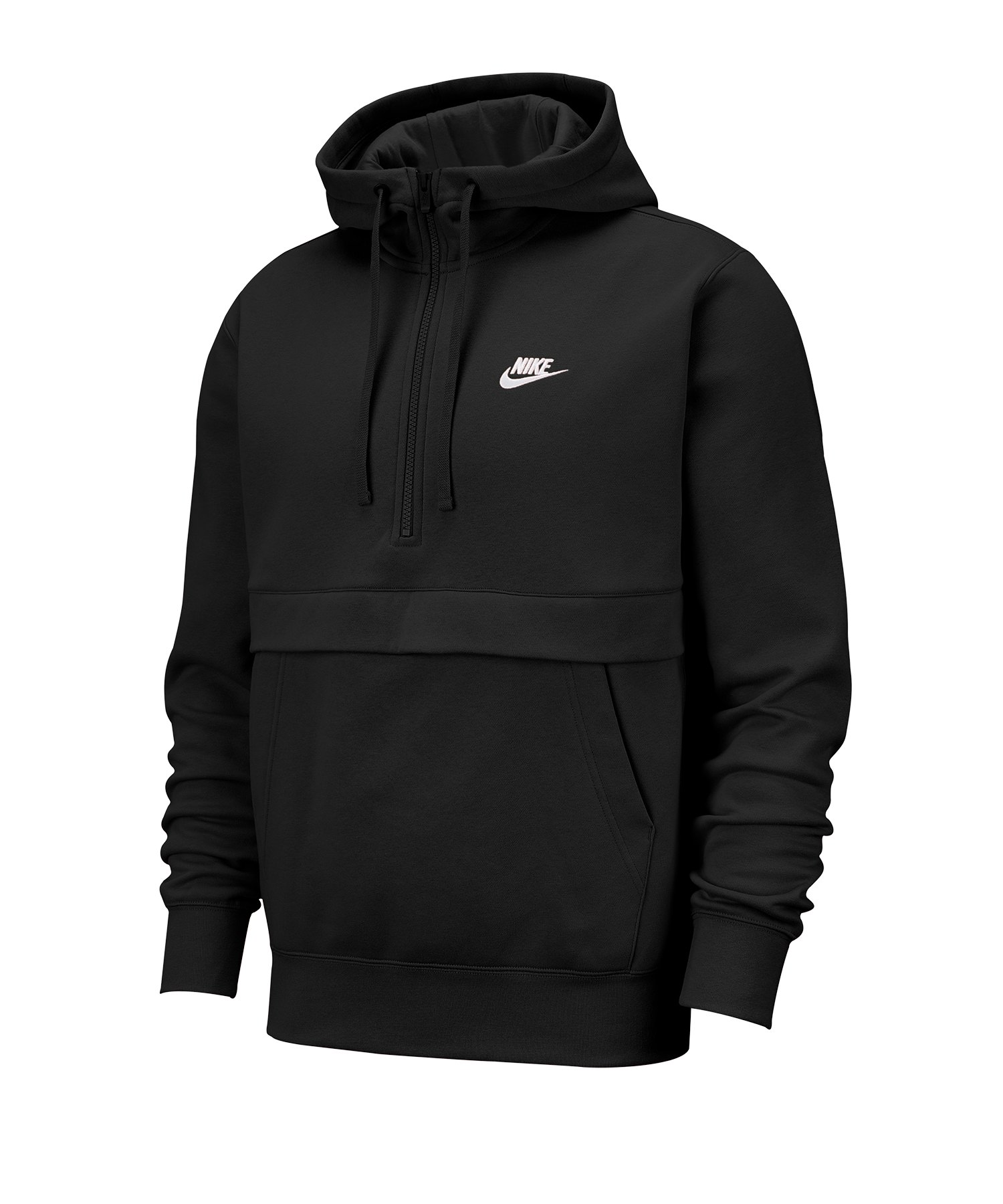 Nike Club Fleece 1/2 Zip Kapuzensweatshirt F010 - schwarz