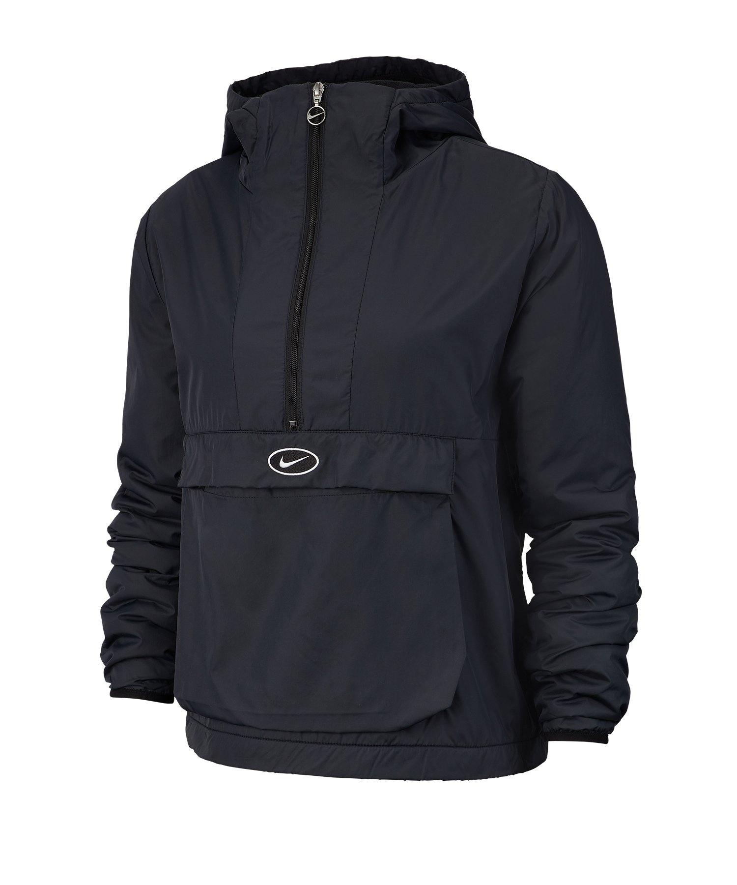 Nike Swoosh Jacket Jacke Damen Schwarz Weiss F010 - Schwarz
