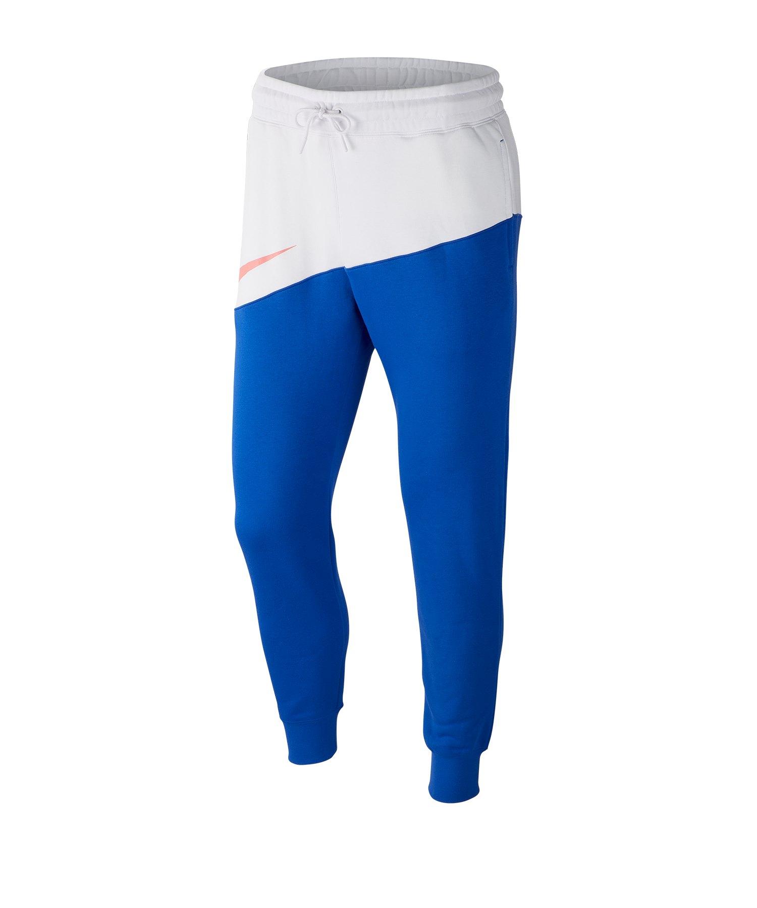 Nike Swoosh Jogginghose Pants Weiss Blau F100 - weiss