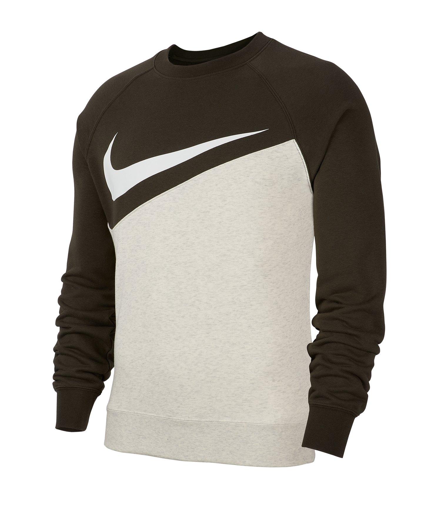 Nike Swoosh French Terry Crew Langarmshirt F141 - grau