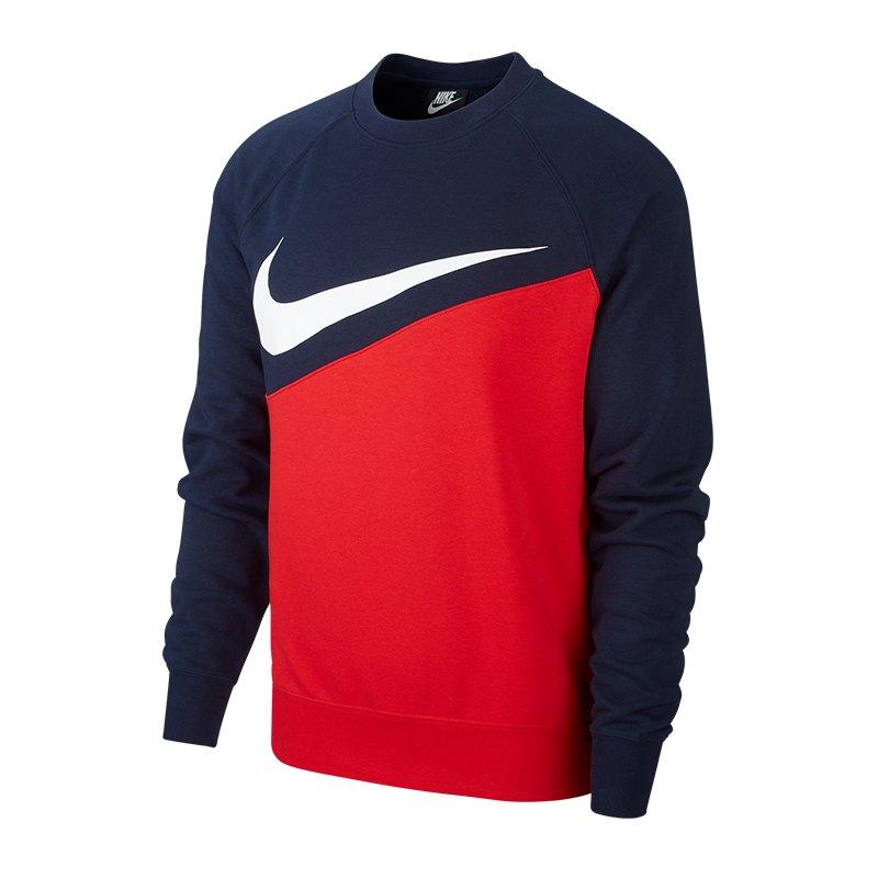 Nike Swoosh French Terry Crew Langarmshirt F657 - rot