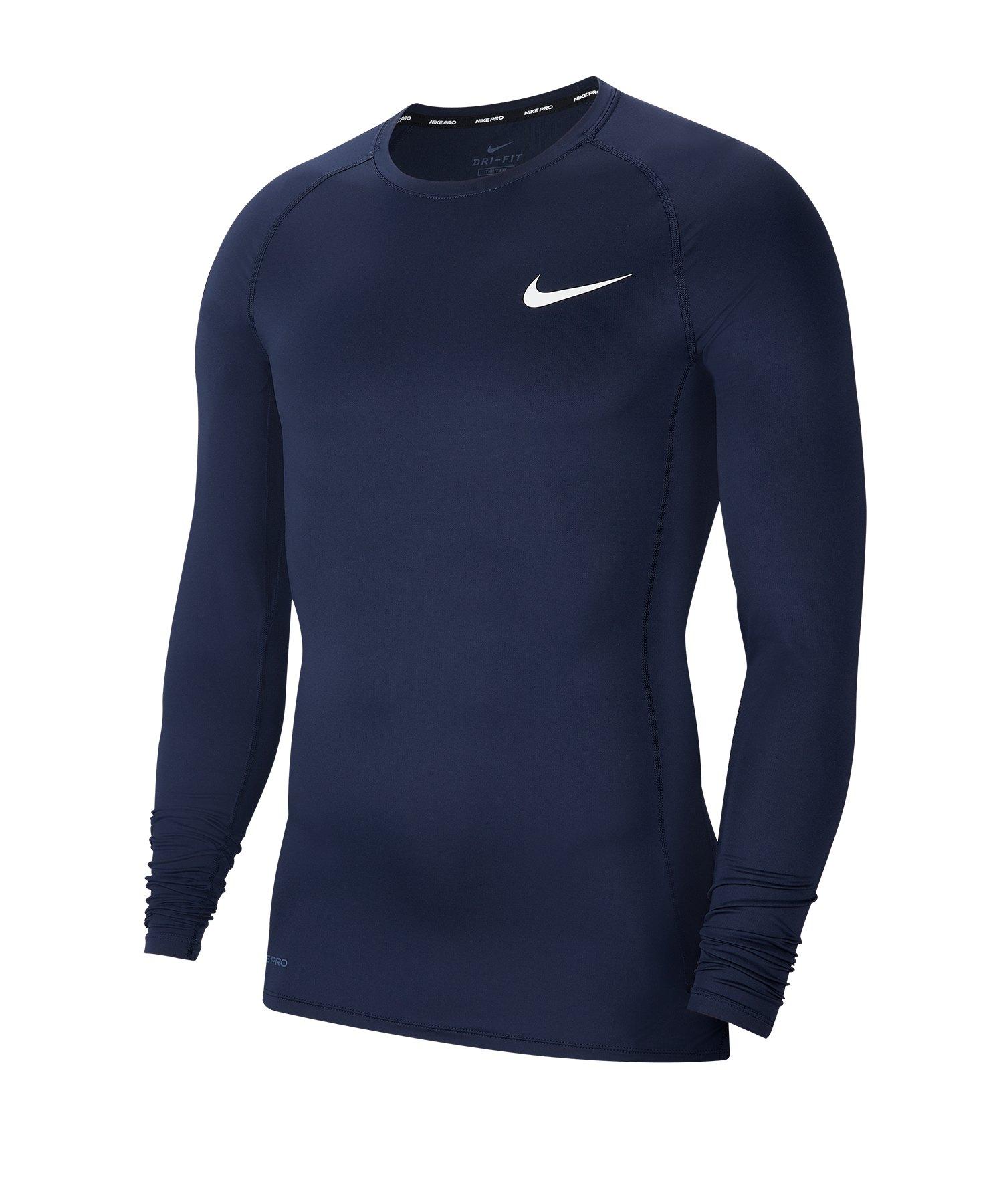 Nike Pro Shirt Longsleeve Blau F452 - blau