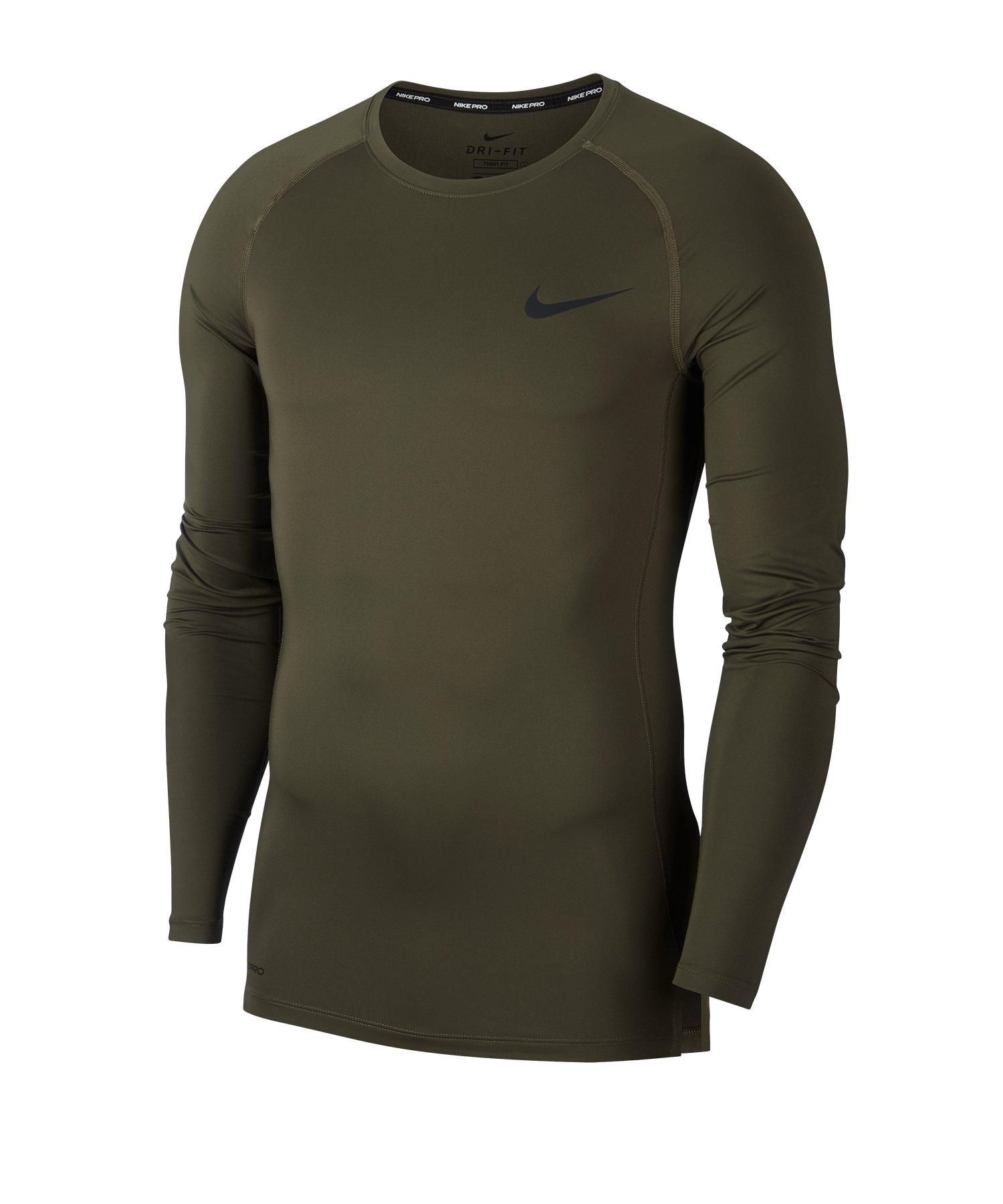 Nike Pro Shirt Longsleeve Grün F325 - gruen