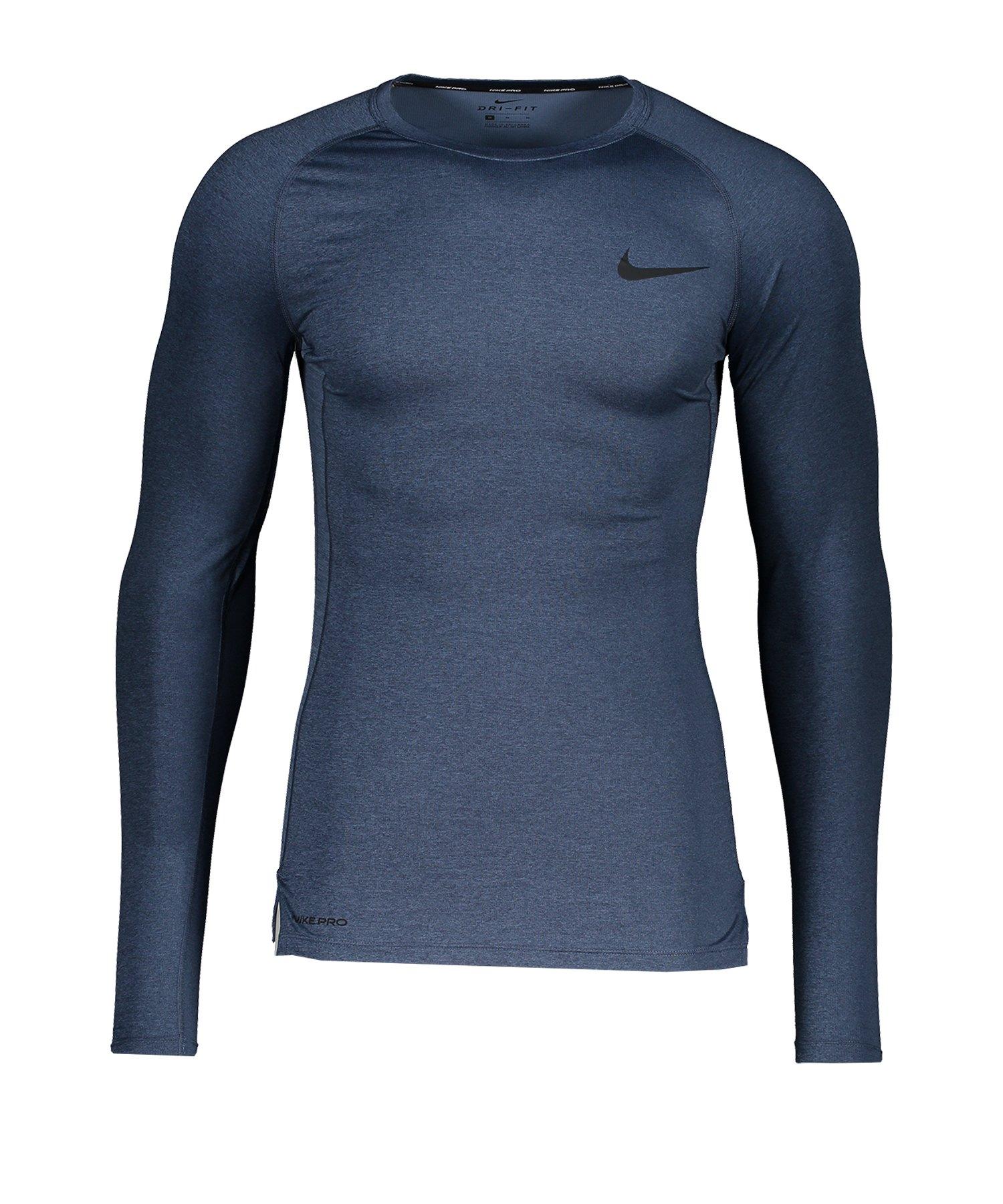 Nike Pro Trainingshirt langarm Blau F451 - blau
