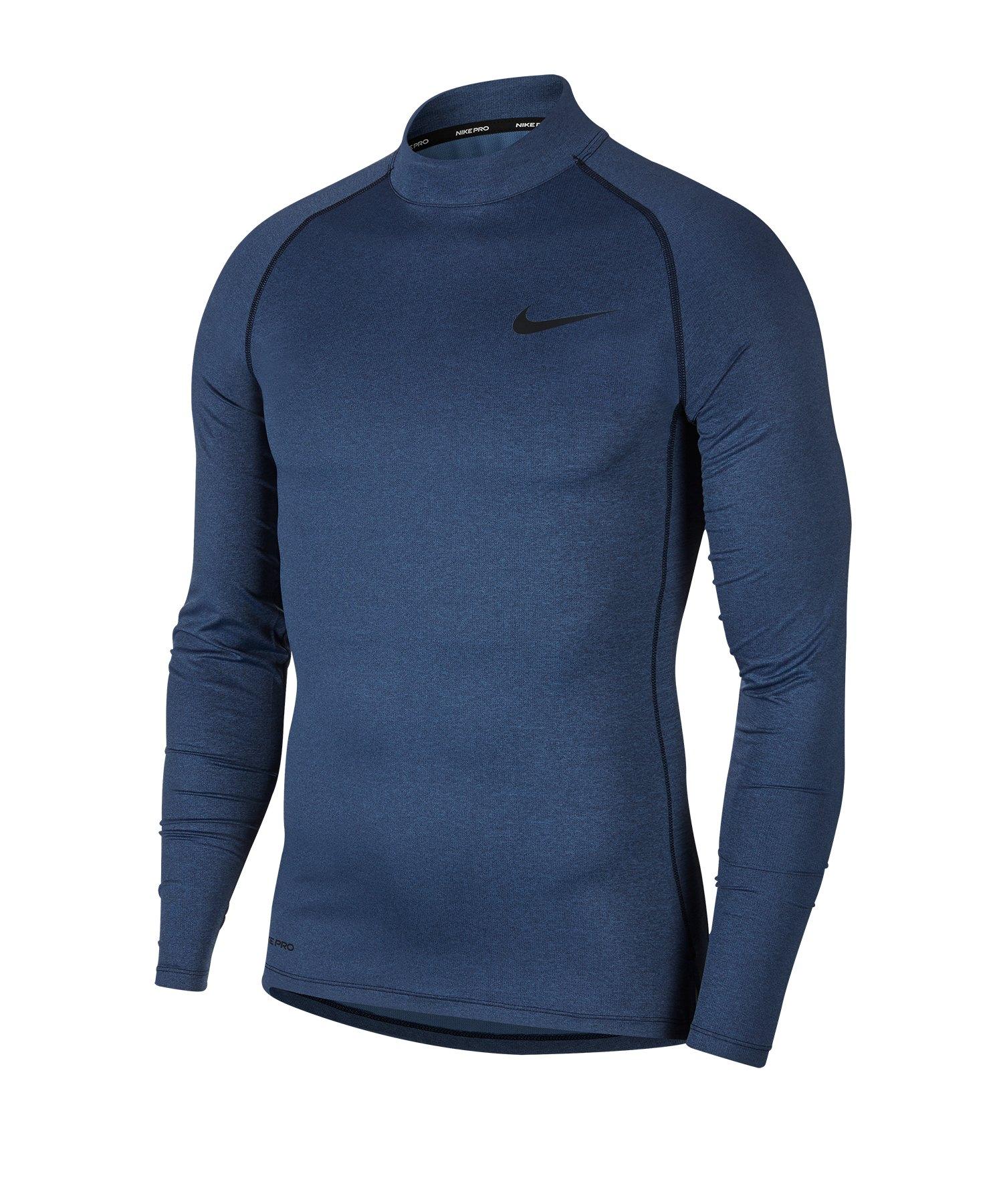 Nike Pro Training Top Mock langarm Blau F451 - blau