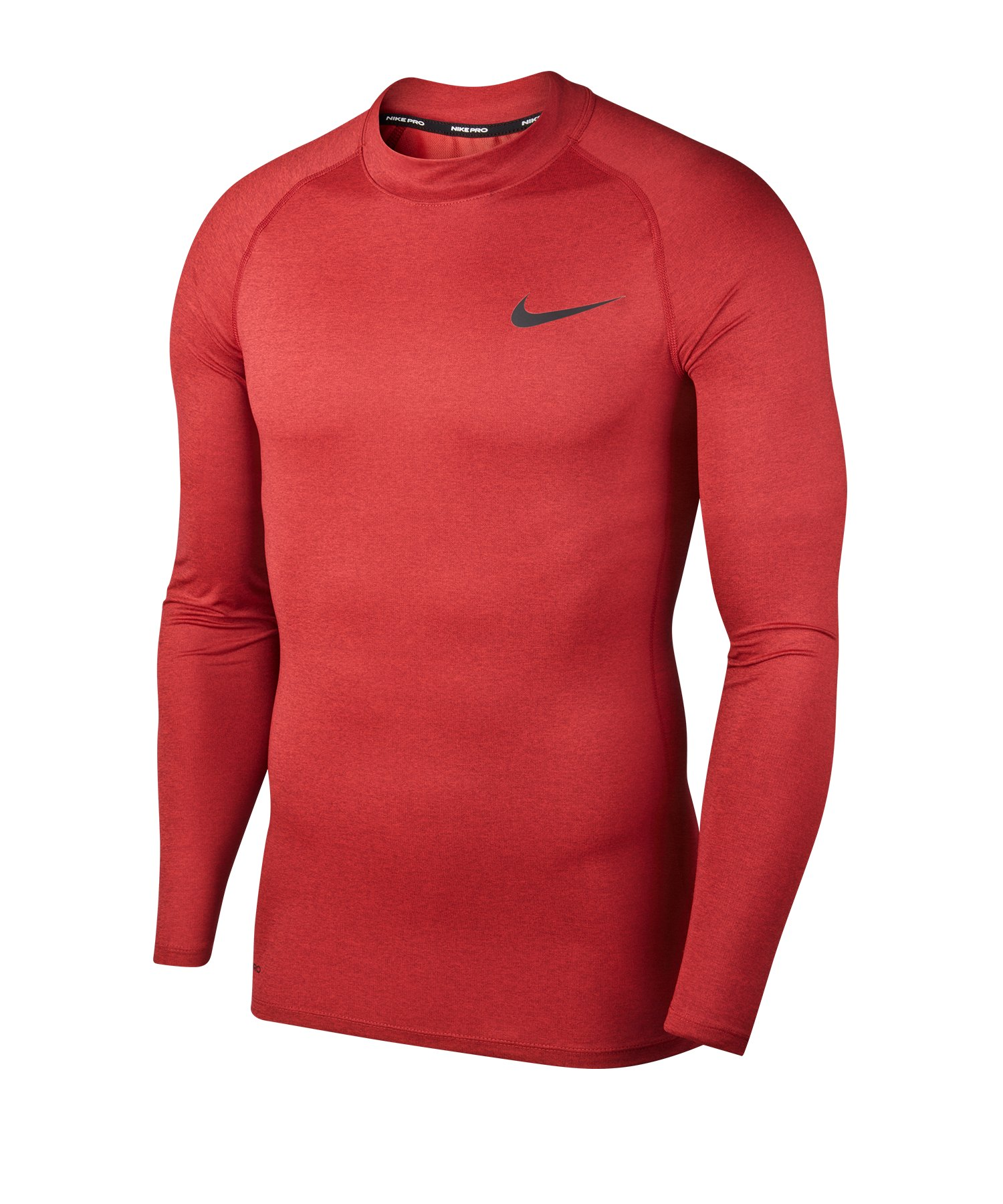 Nike Pro Training Top Mock langarm Rot F681 - rot