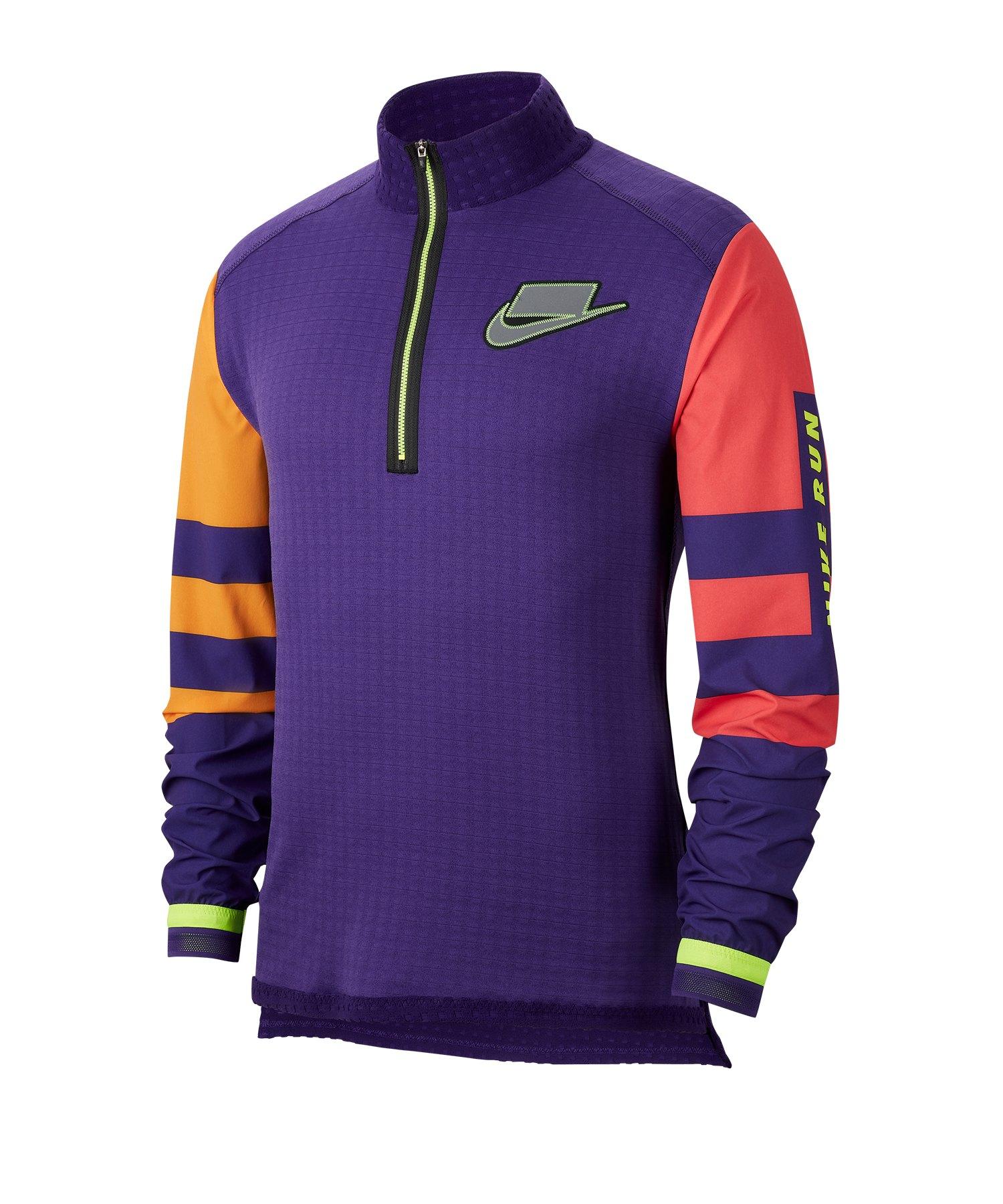 Nike Wild Runnung 1/2 Zip Shirt langarm Lila F547 - lila