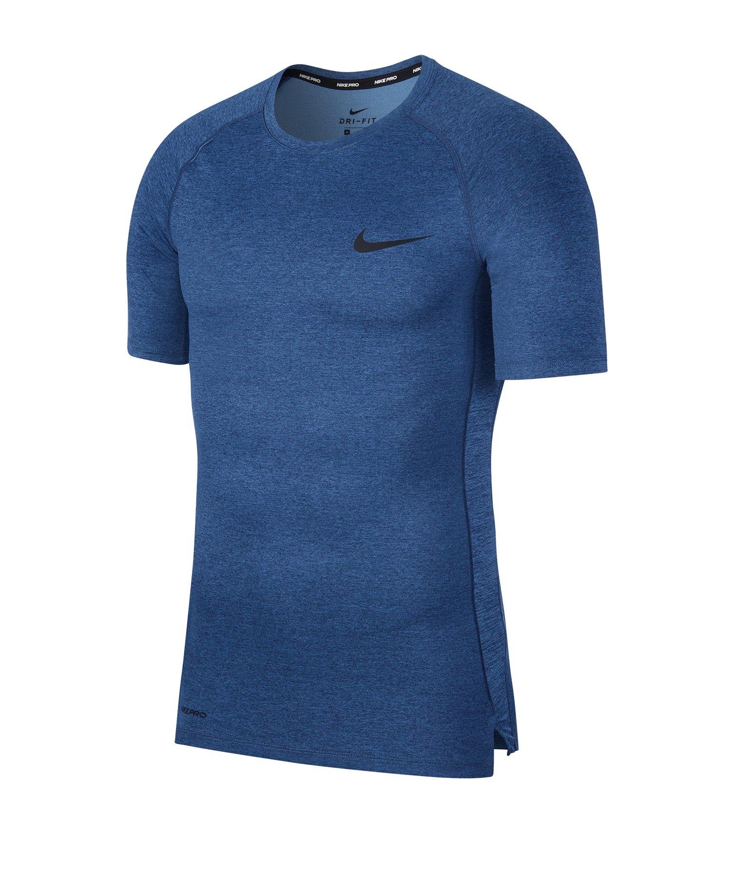 Nike Pro Trainingsshirt kurzarm Blau F451 - blau