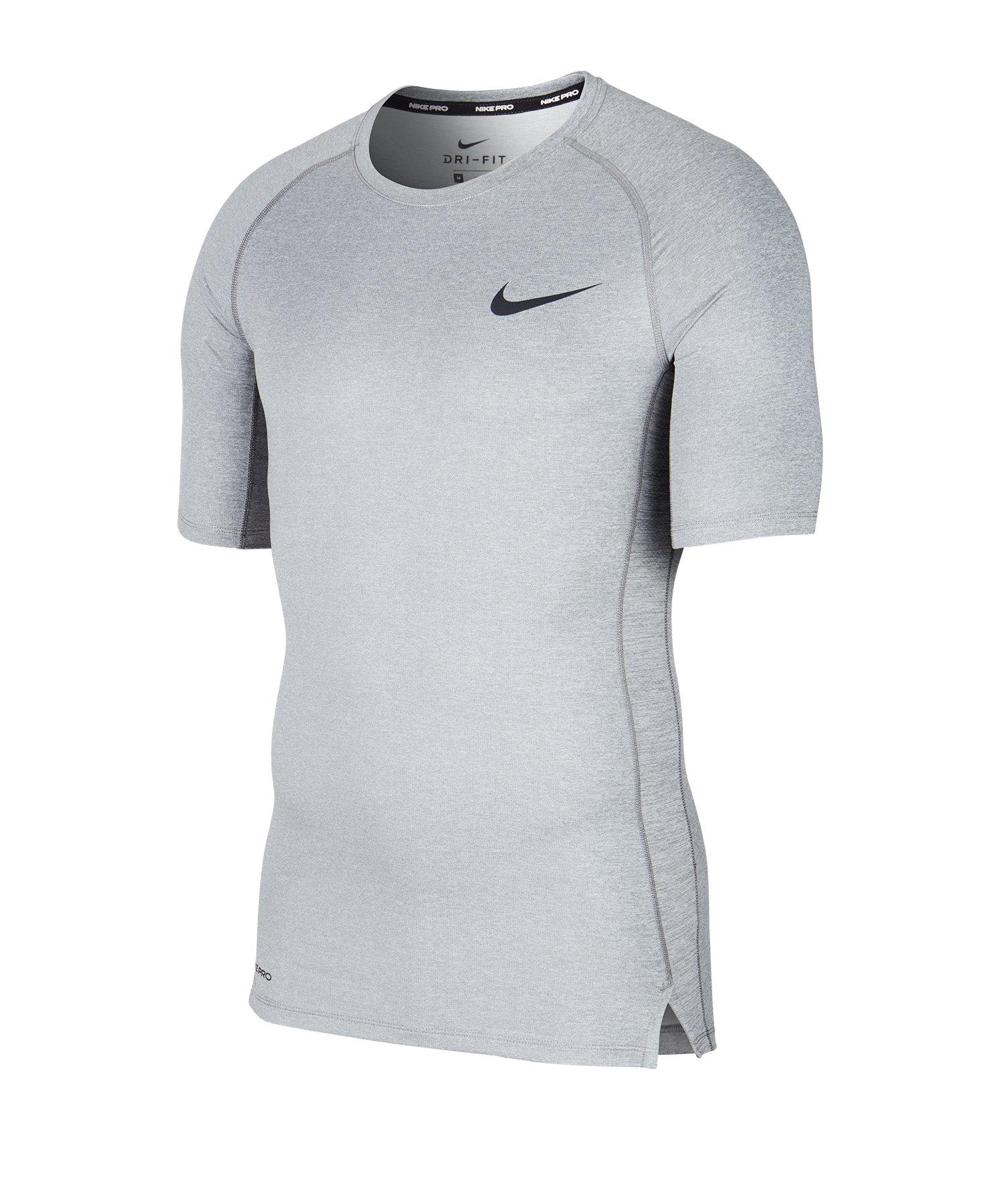 Nike Pro Trainingsshirt kurzarm Grau F085 - grau