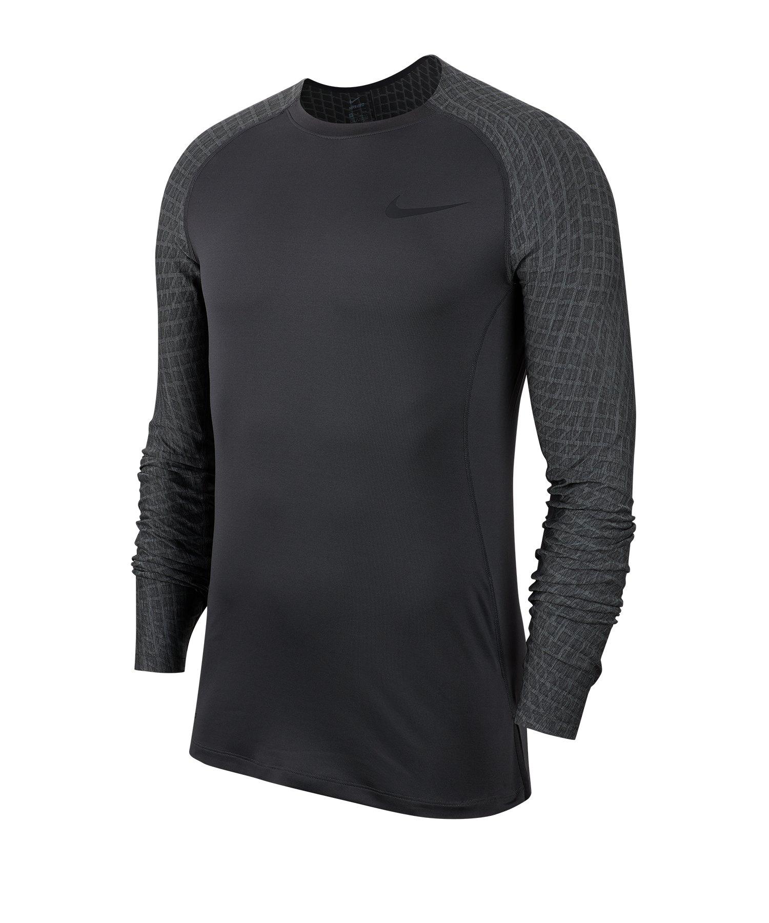 Nike Pro Training Top langarm Grau F010 - grau