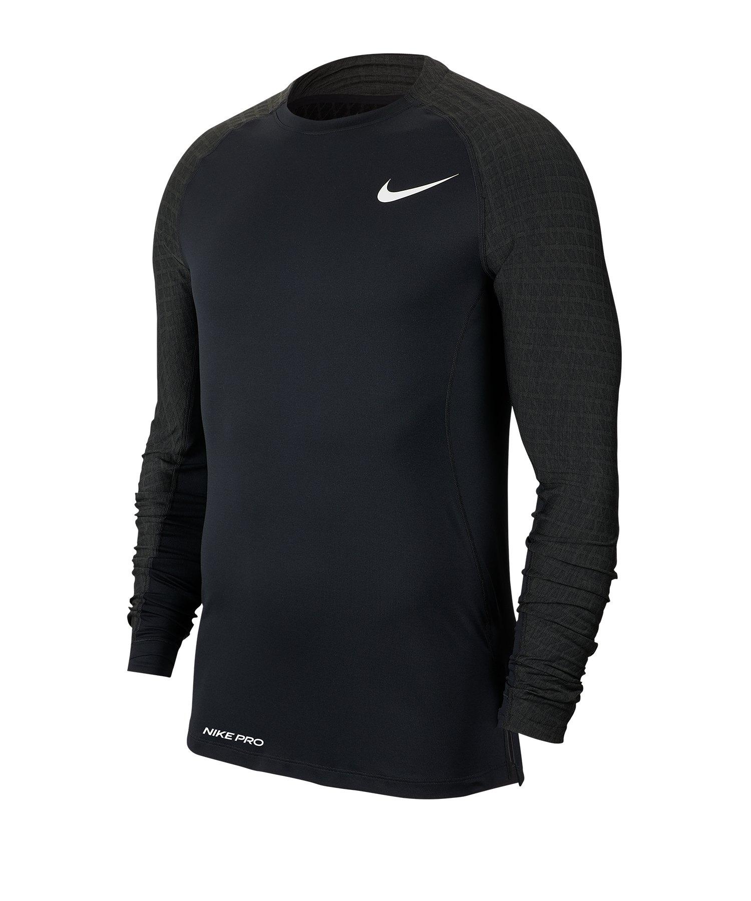Nike Pro Training Top langarm Schwarz F010 - schwarz
