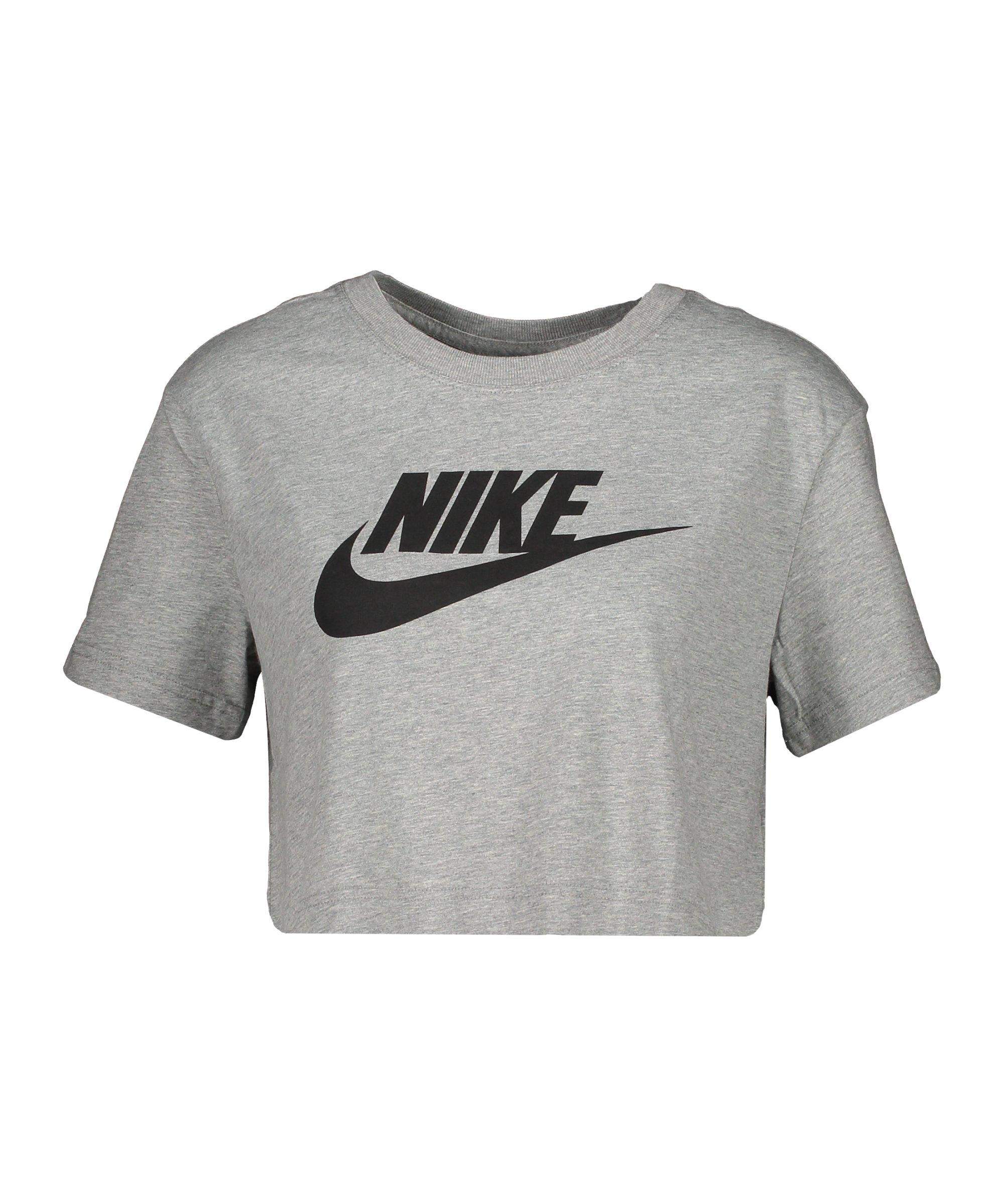 Nike Essential Croped T-Shirt Damen Grau F063 - grau