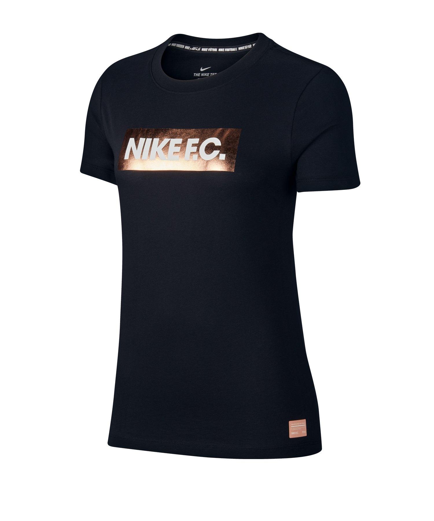 Nike F.C. Block Logo Tee T-Shirt Damen F010 - schwarz