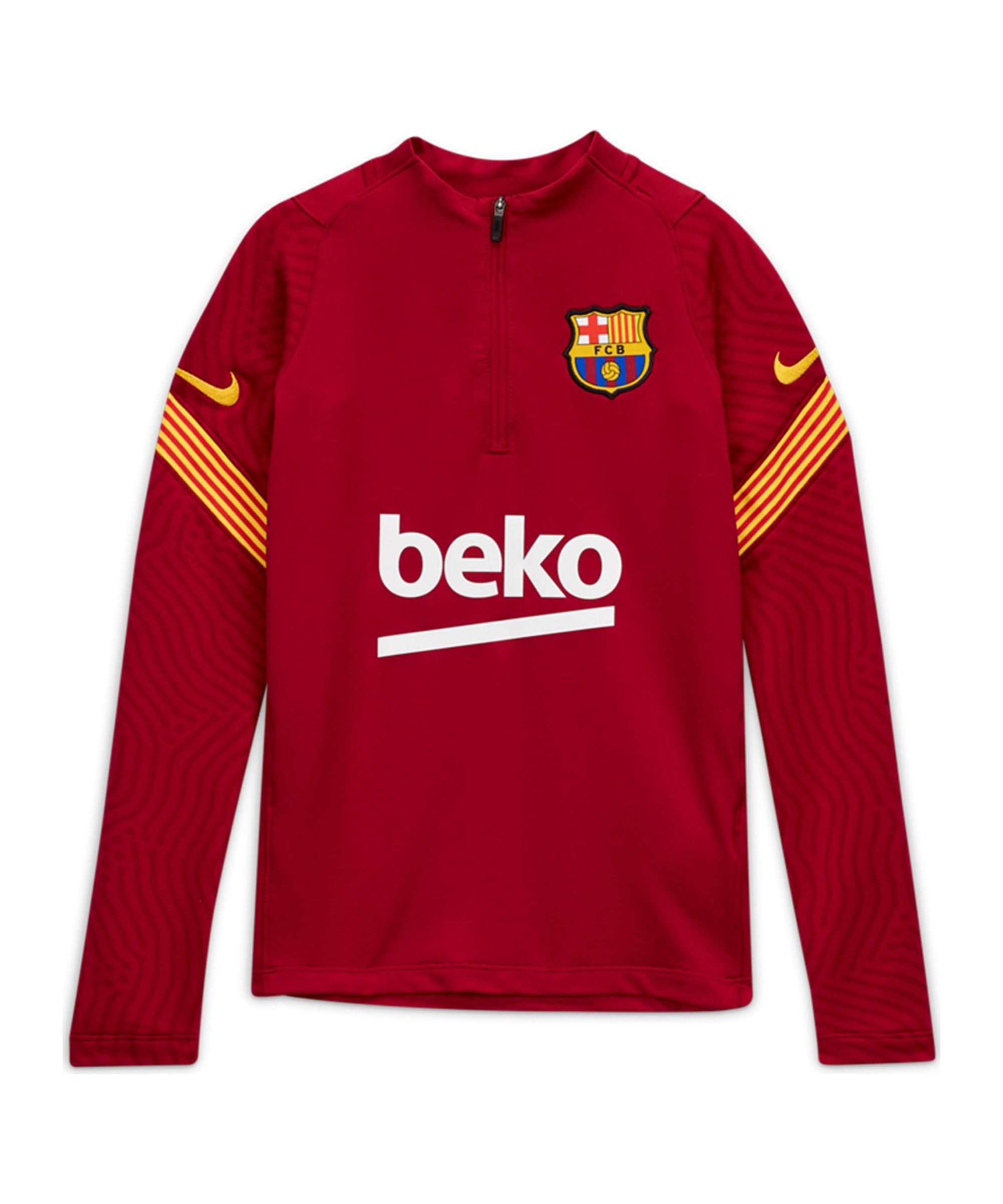 Nike FC Barcelona Dri-FIT 1/4 Zip Top Kids LS F621 - rot