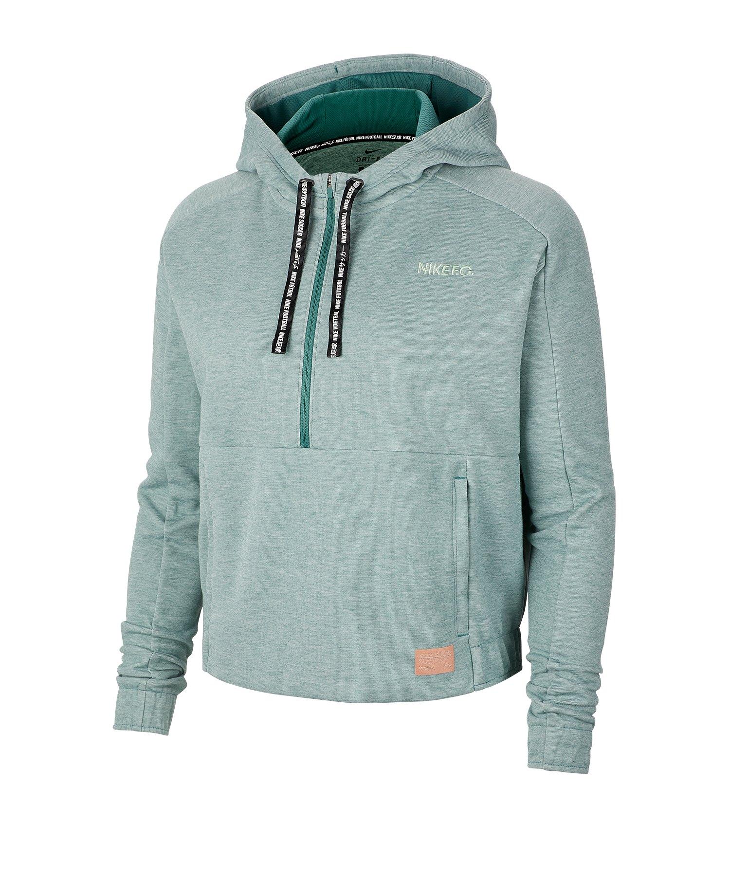 Nike F.C. Hoody 1/2 Kapuzensweatshirt Damen F362 - gruen