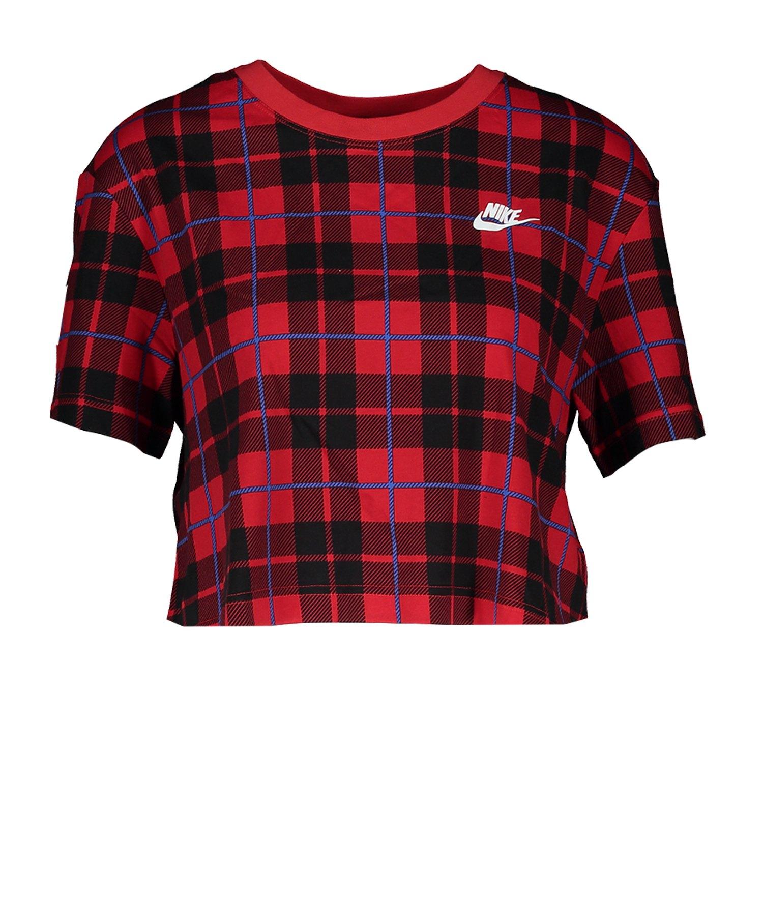 Nike Cropped Tee Futura Plaid T-Shirt Damen F657 - rot