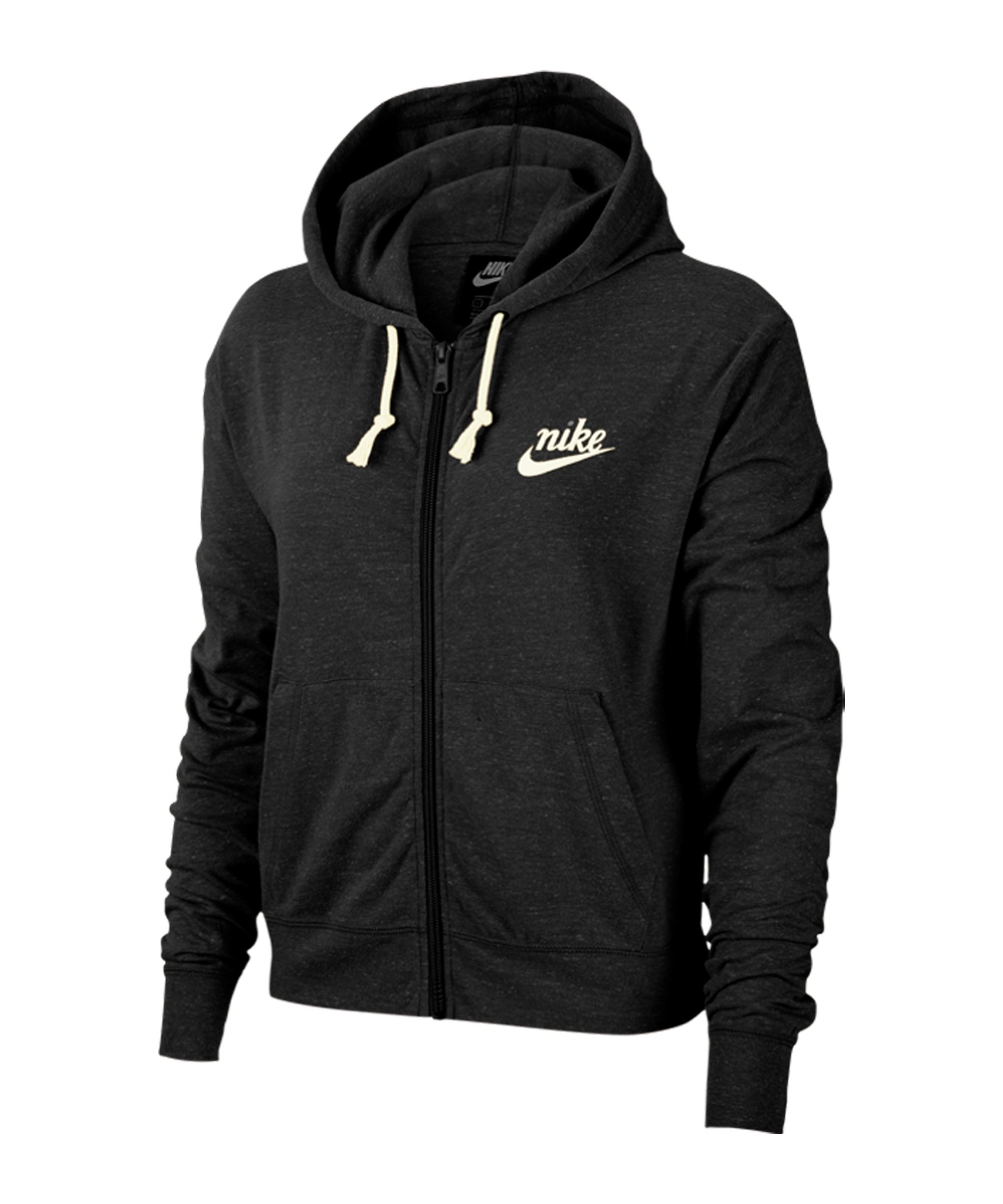 Nike Gym Vintage Kapuzenjacke Damen Schwarz F010 - schwarz