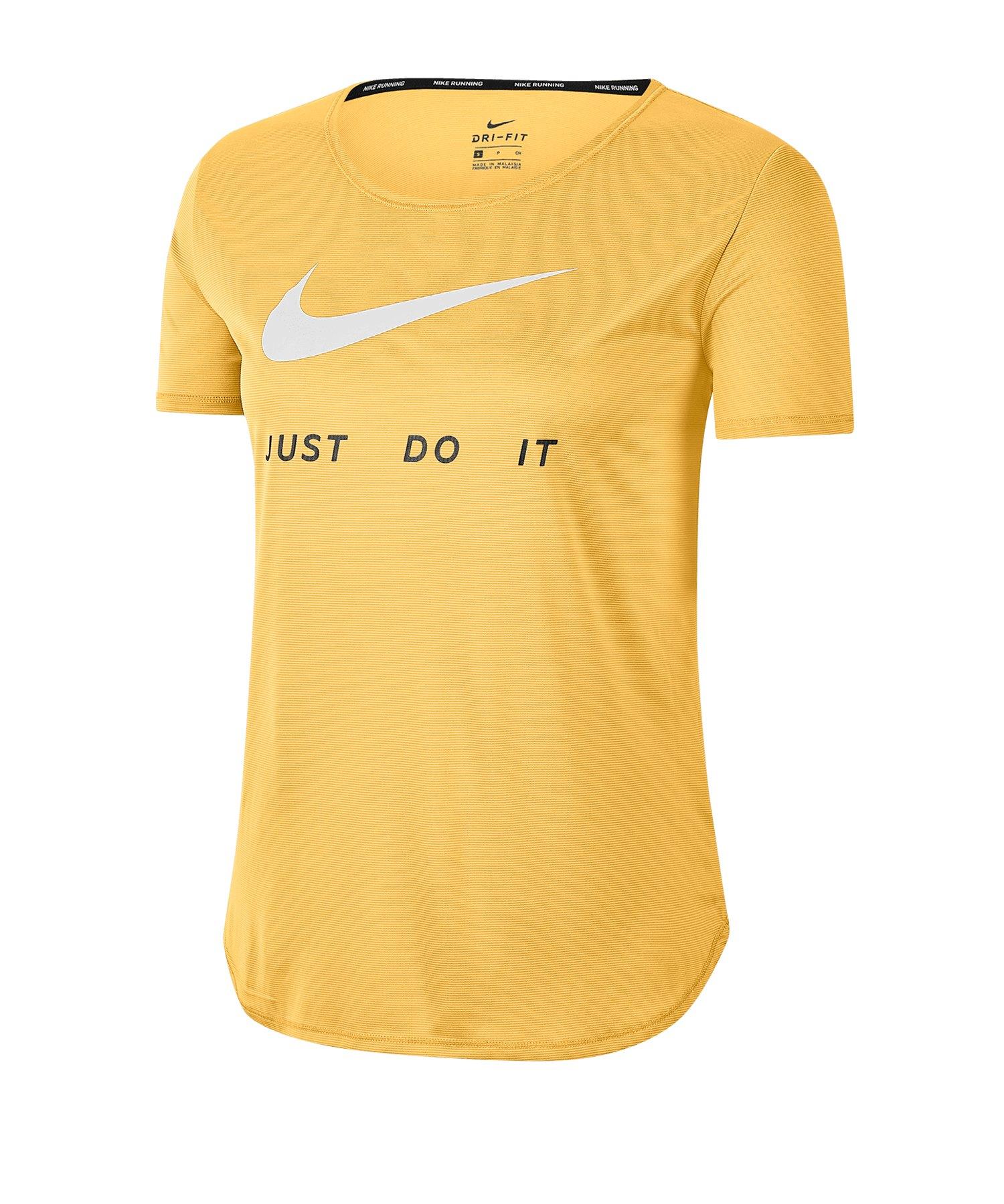 Nike Swoosh T-Shirt Running Damen Gelb F795 - gelb