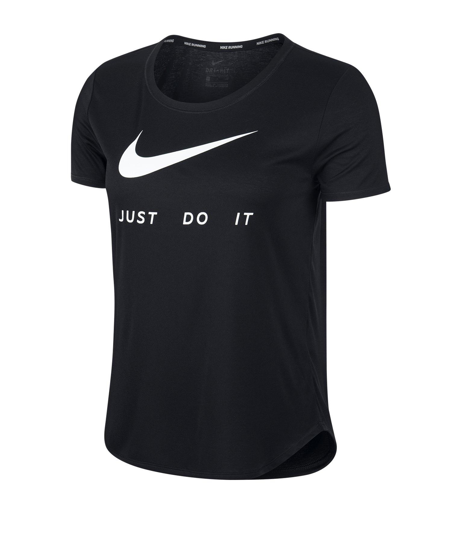 Nike Swoosh T-Shirt Running Damen Schwarz F010 - schwarz
